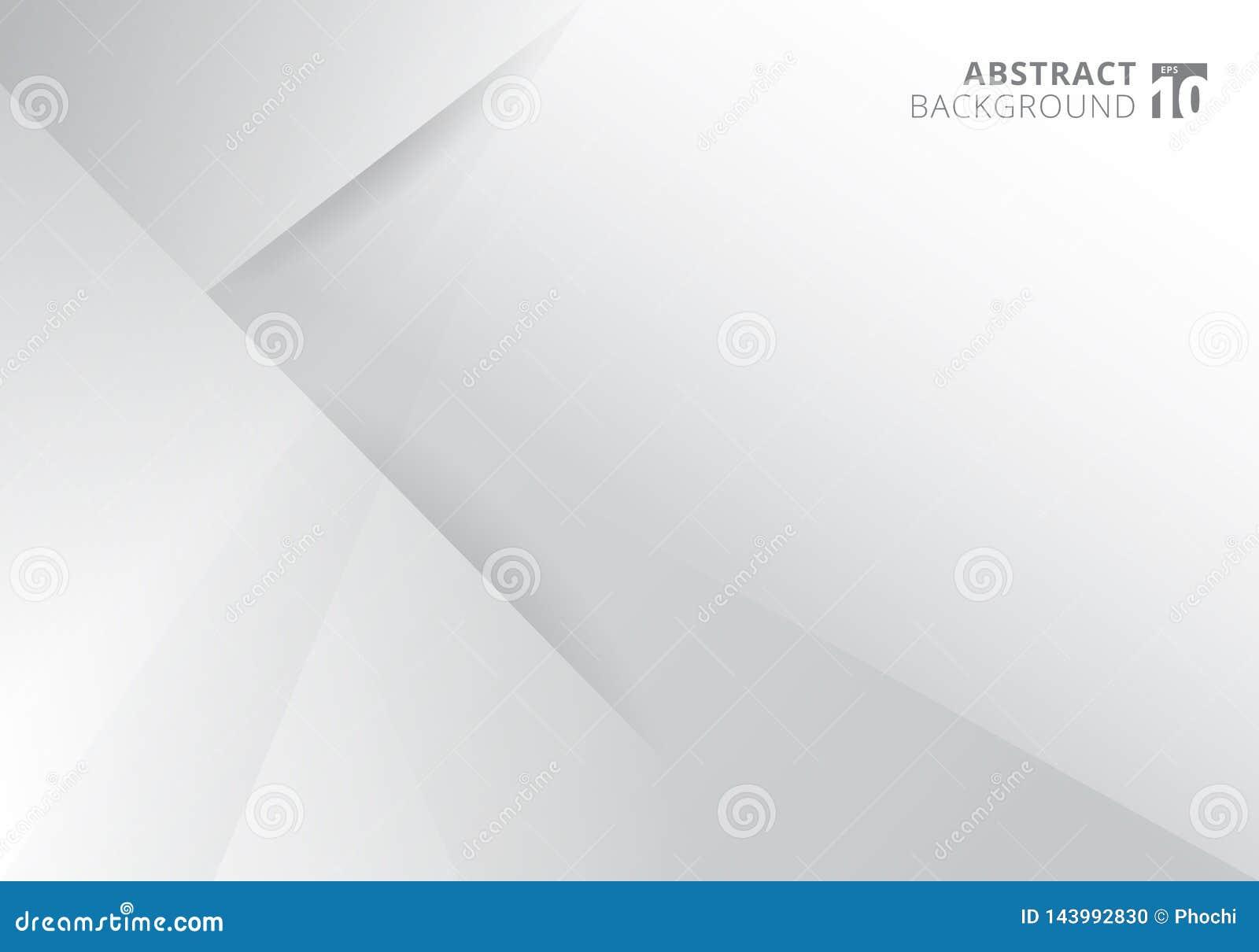 Conception moderne de fond de couleur blanche et grise de calibre de résumé Triangles géométriques avec le graphique d ombre