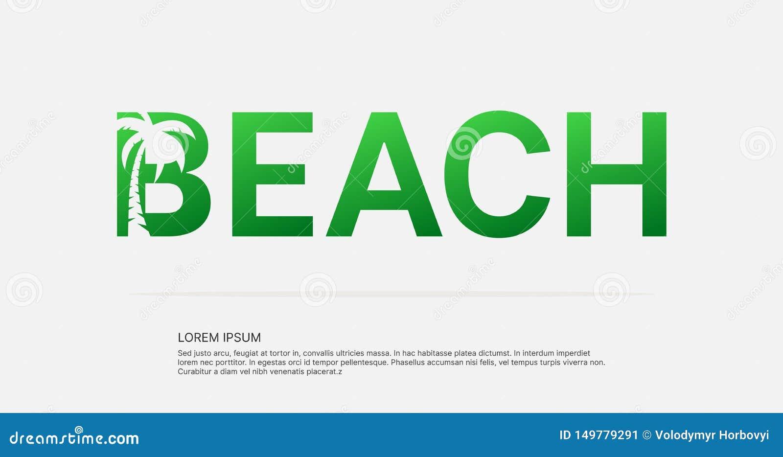Conception négative de logo de l espace des textes de plage