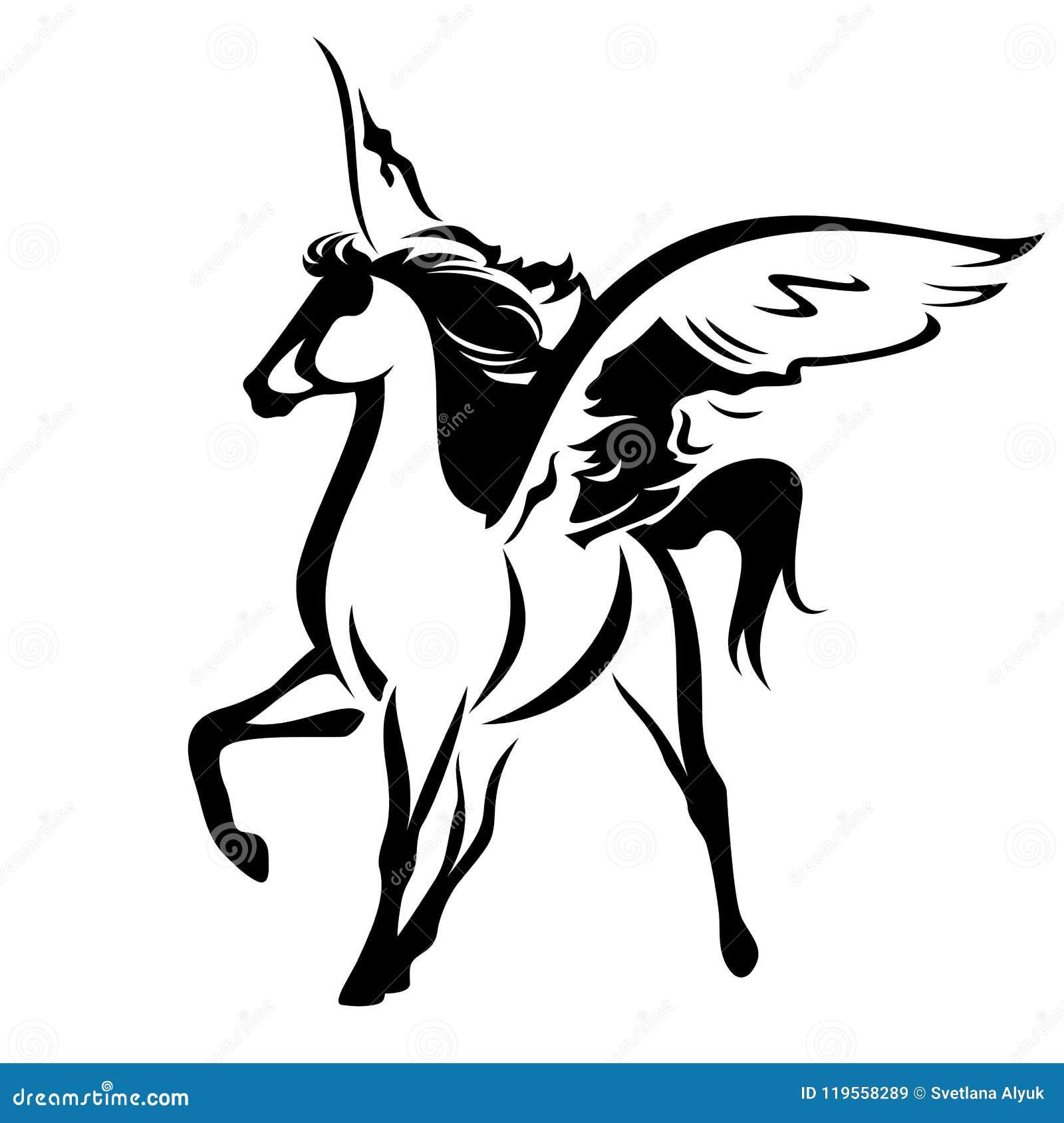 design intemporel a5561 2e19e Conception Noire Et Blanche De Vecteur De Pegasus ...