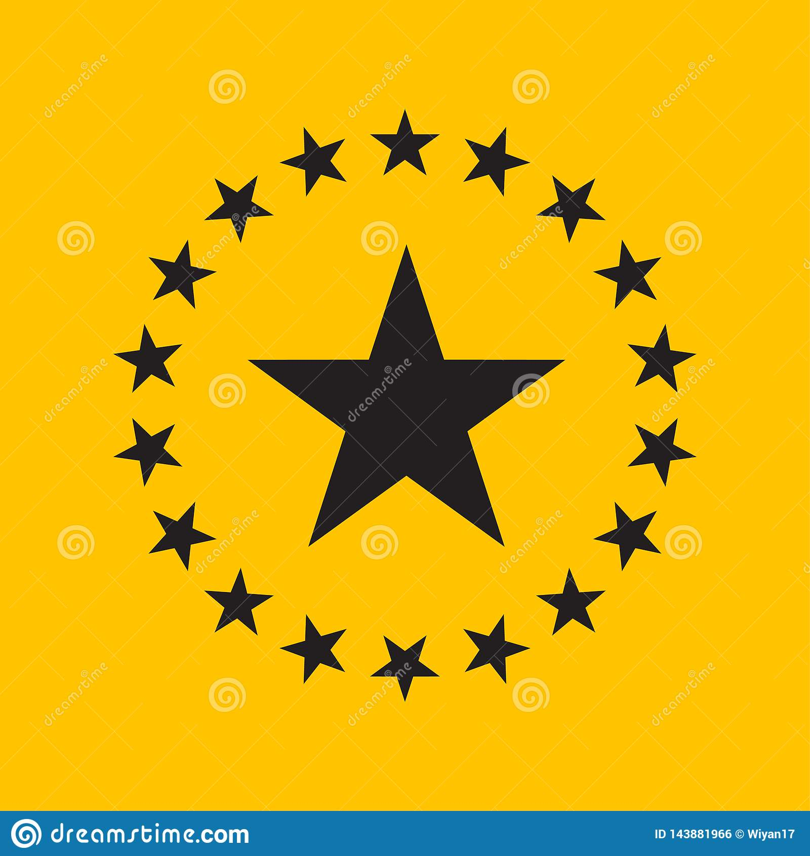 Conception plate d étoile de cercle Icône d étoile, illustration de vecteur de logo