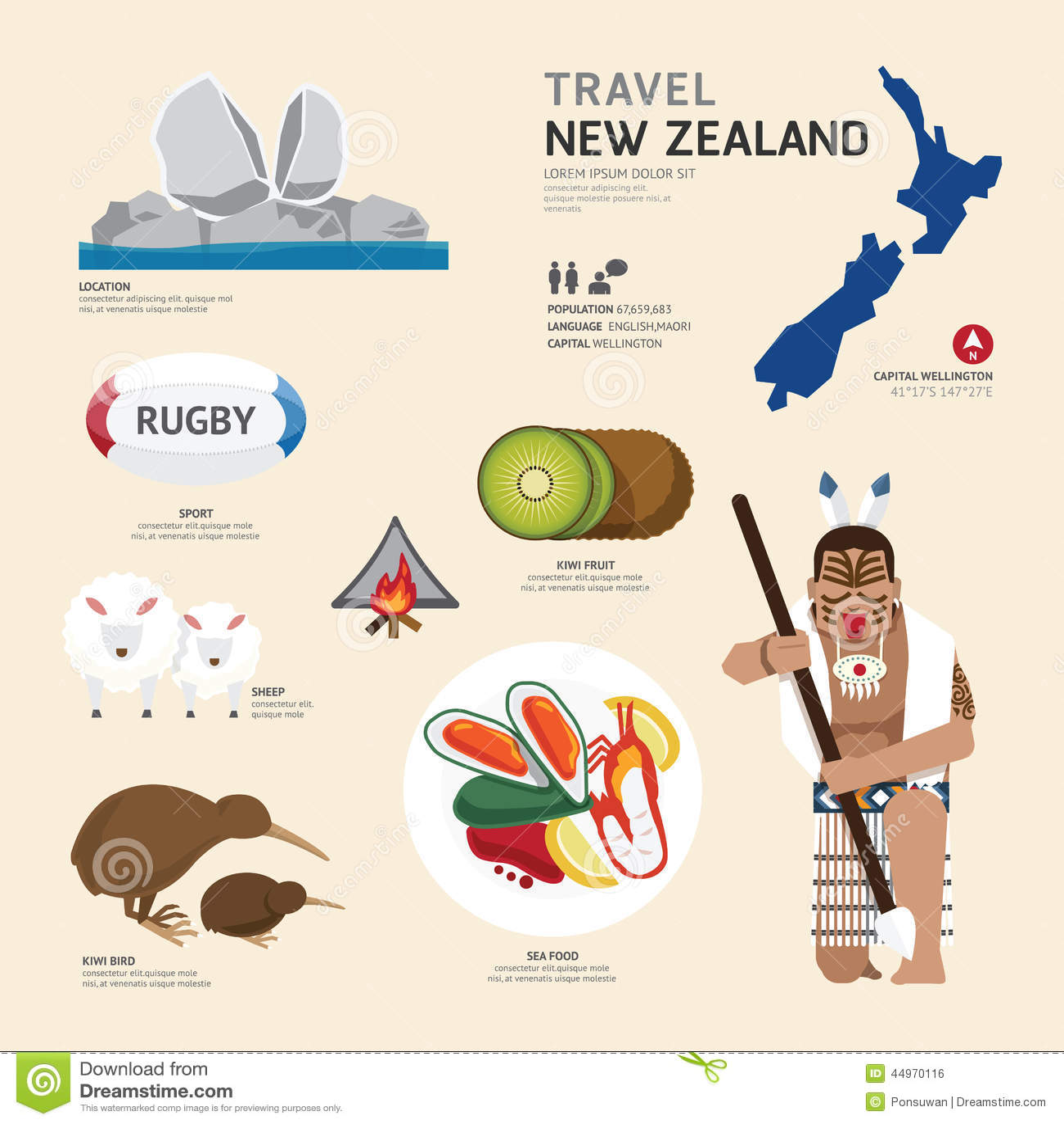 Conception plate d icônes de point de repère du Nouvelle-Zélande de concept de voyage Vecteur