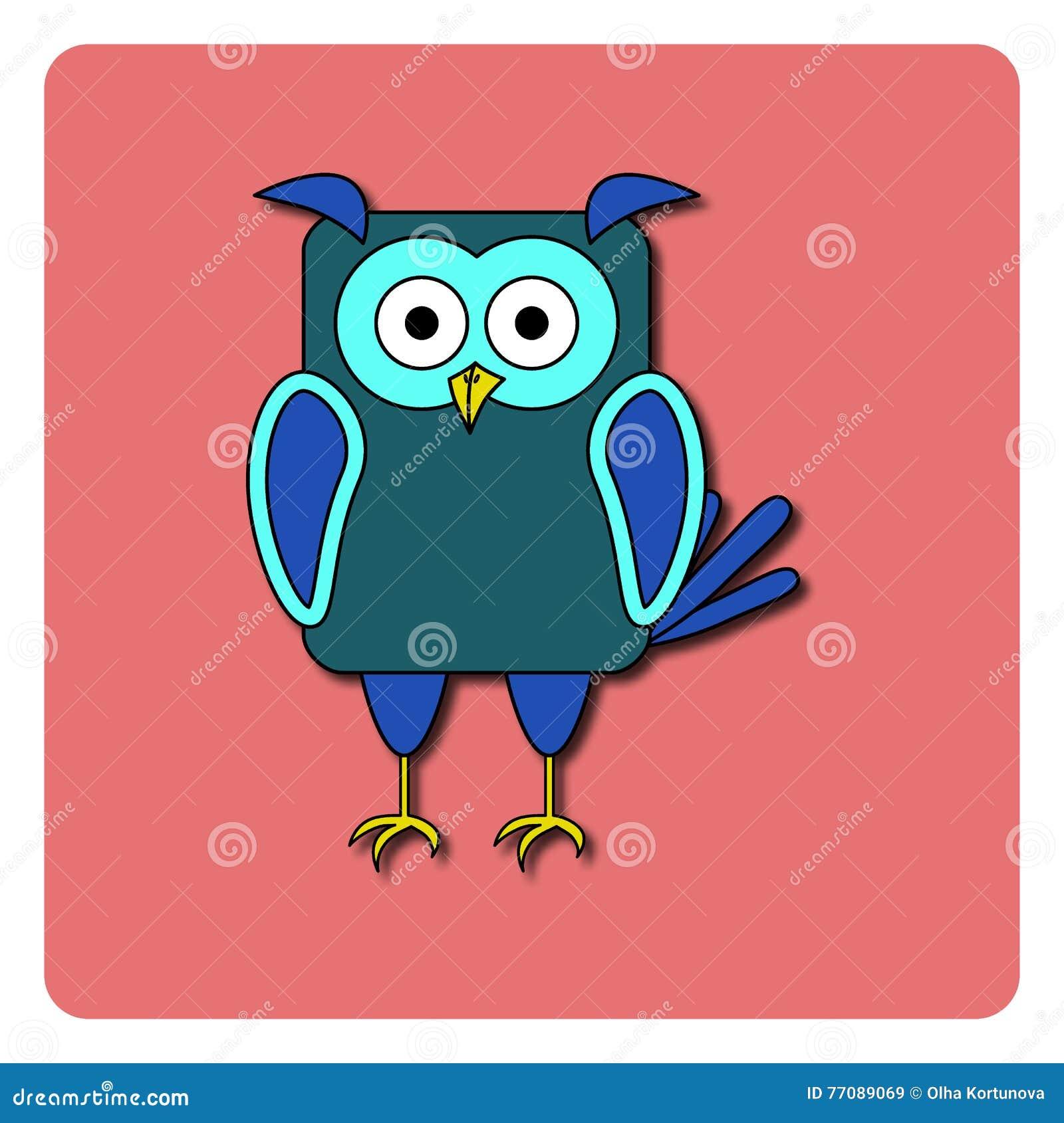 Conception Plate D Oiseau Sur Le Fond De Couleur Hibou Bleu Arrondi