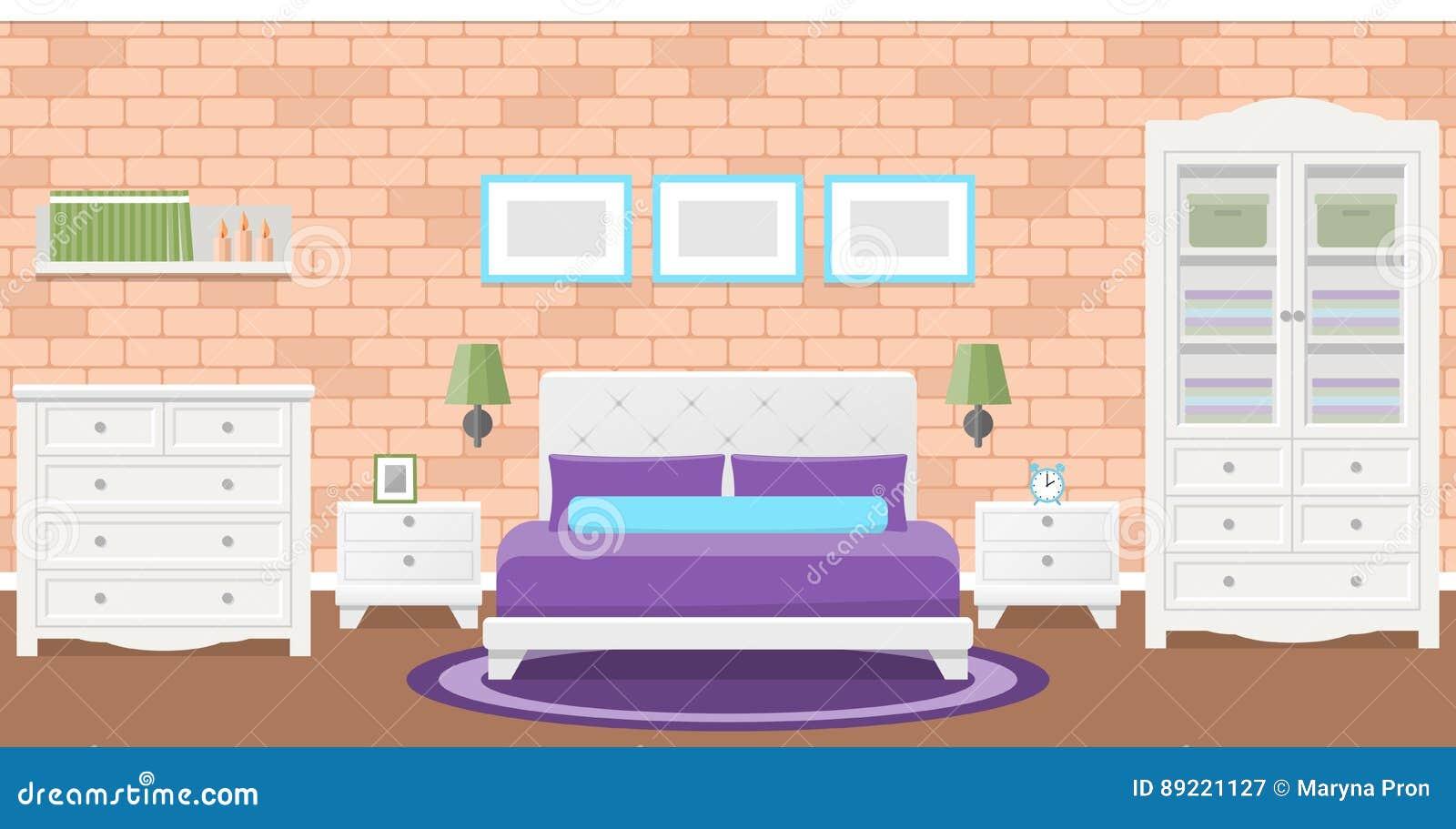 Conception Plate De Chambre A Coucher Illustration De Vecteur Fond