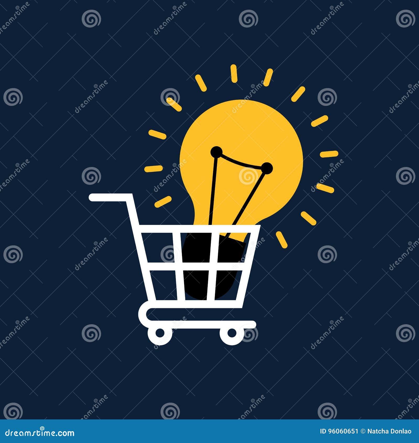 Conception plate de concept créatif d idée Ampoule dans le caddie
