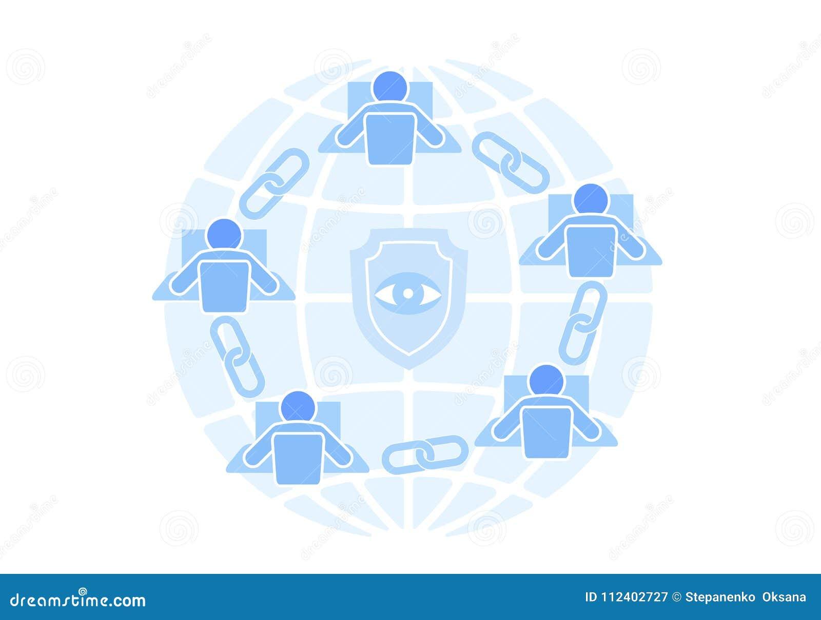 Conception plate de connexion de signe de lien de Blockchain Concept de réseau d affaires de sécurité de lien hypertexte d icône