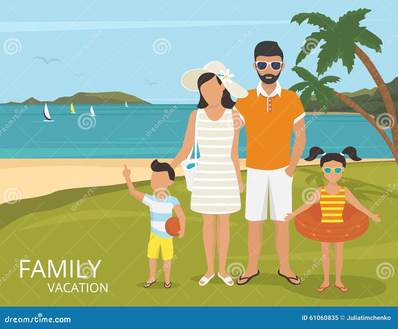 Conception plate de famille d illustration heureuse de vacances