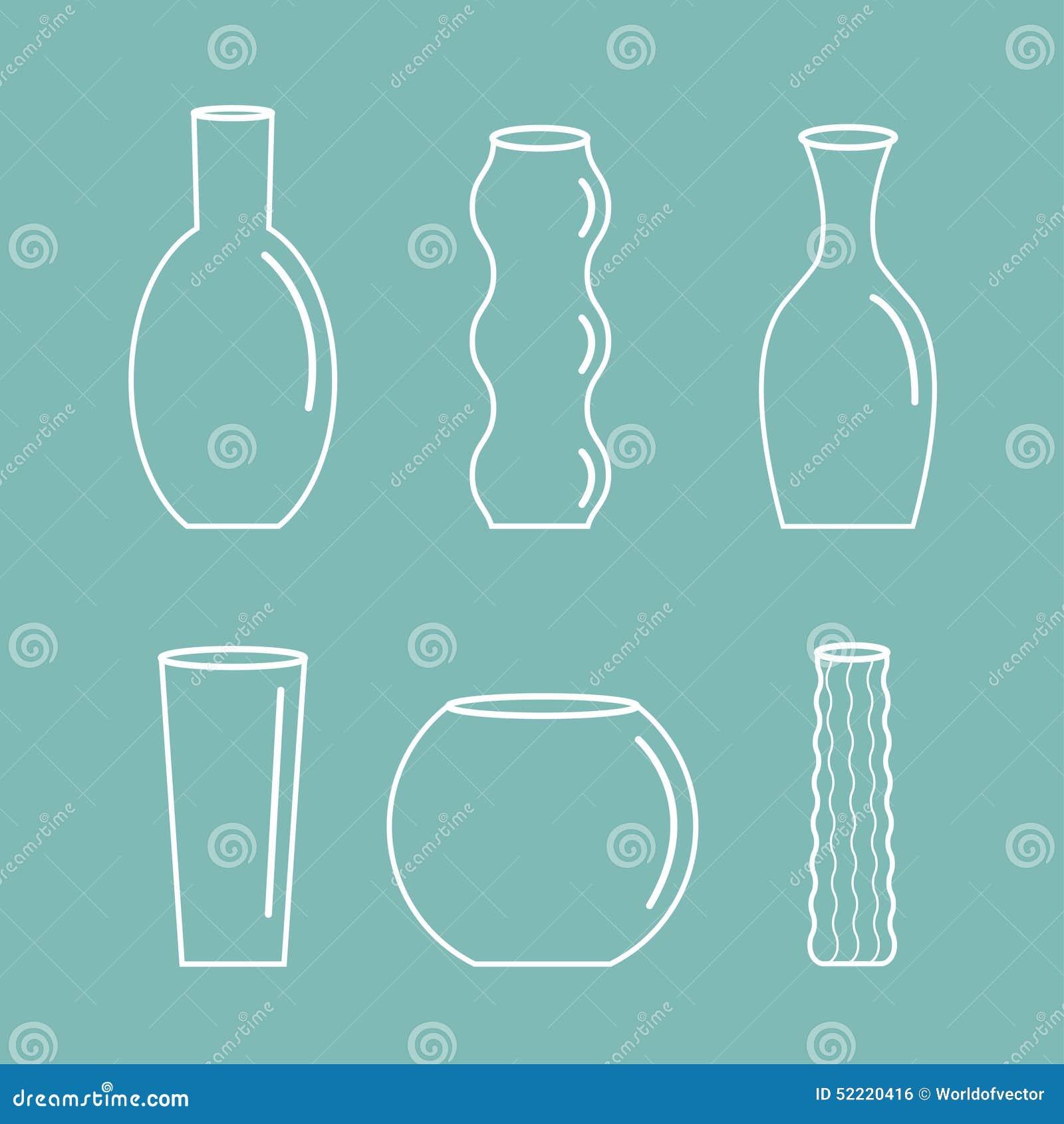 Conception plate de poterie d icône d ensemble de vase de fleur de fond bleu en verre en céramique réglé de décoration