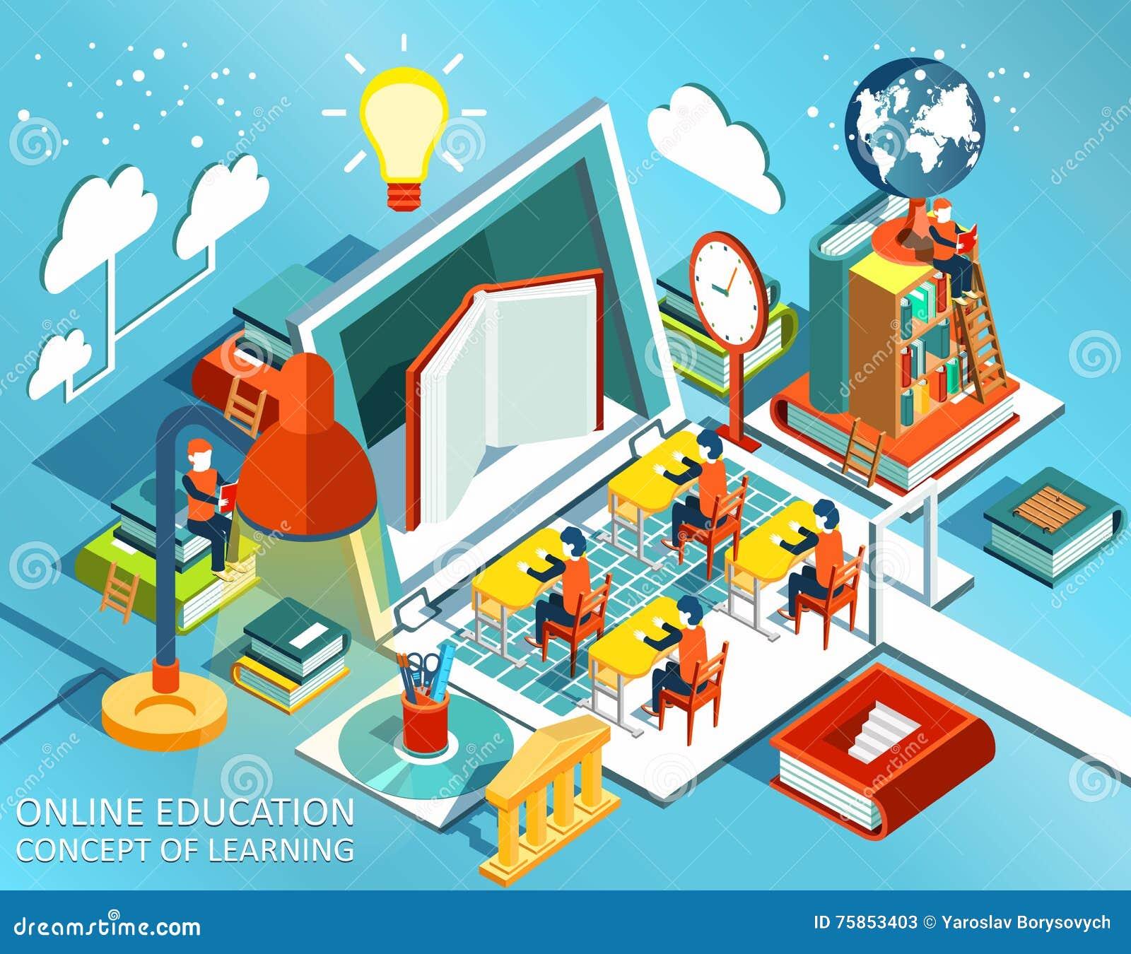 Conception plate isométrique d éducation en ligne Le concept des livres d étude et de lecture dans la bibliothèque et dans la sal