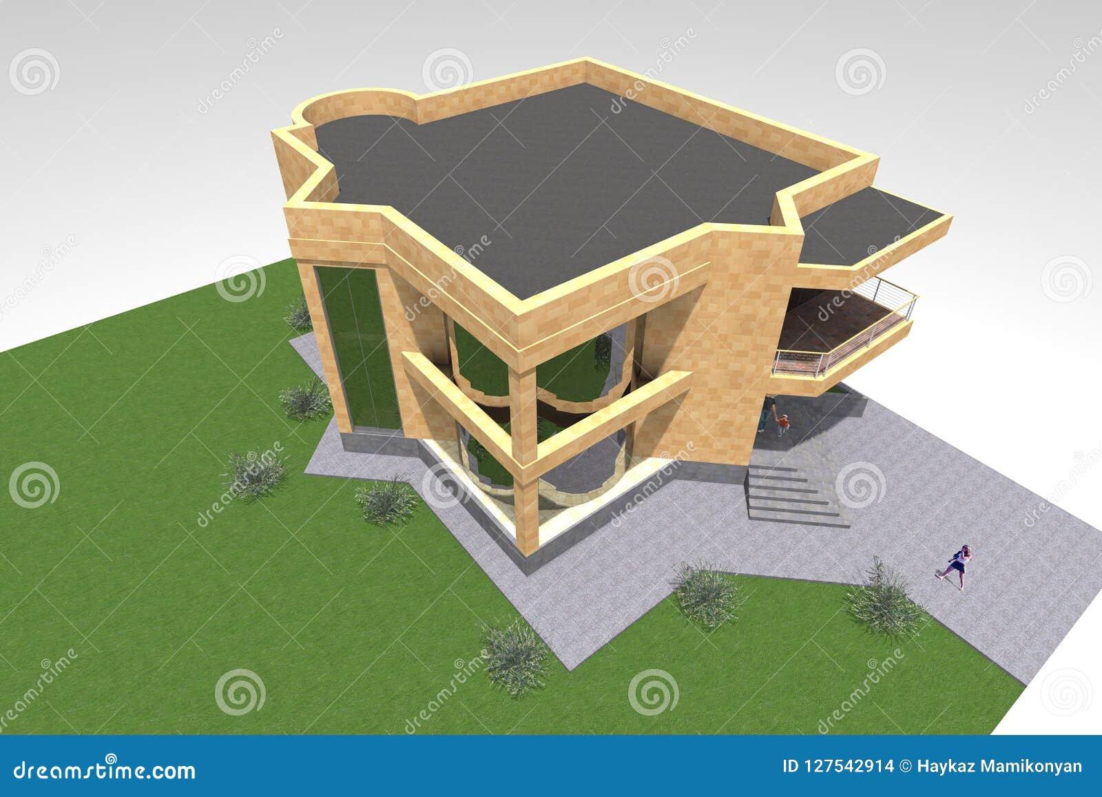 Conception Résidentielle De La Maison 3d Illustration Stock