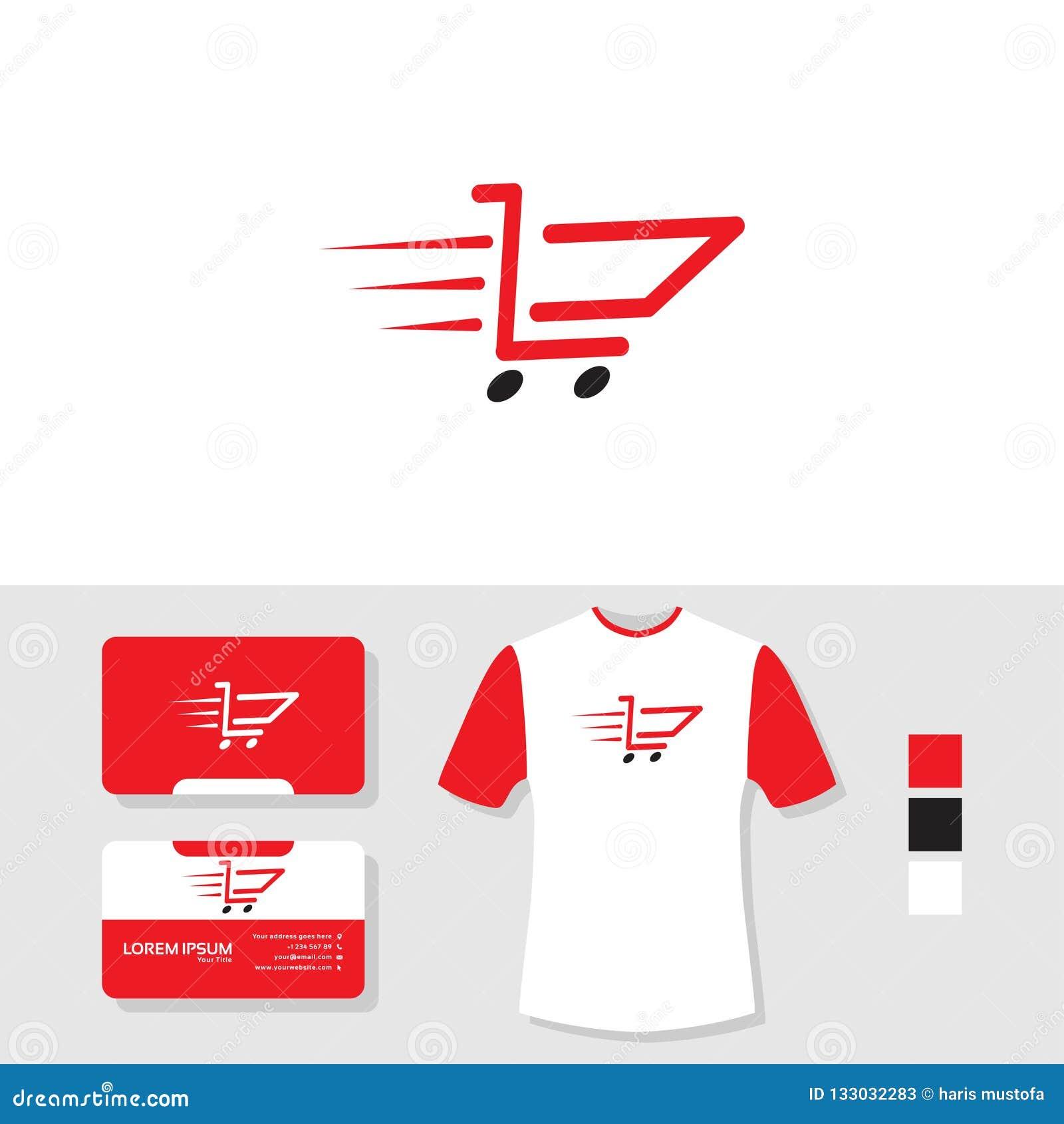 Conception rapide de logo de chariot avec la carte de visite professionnelle de visite et la maquette de T-shirt