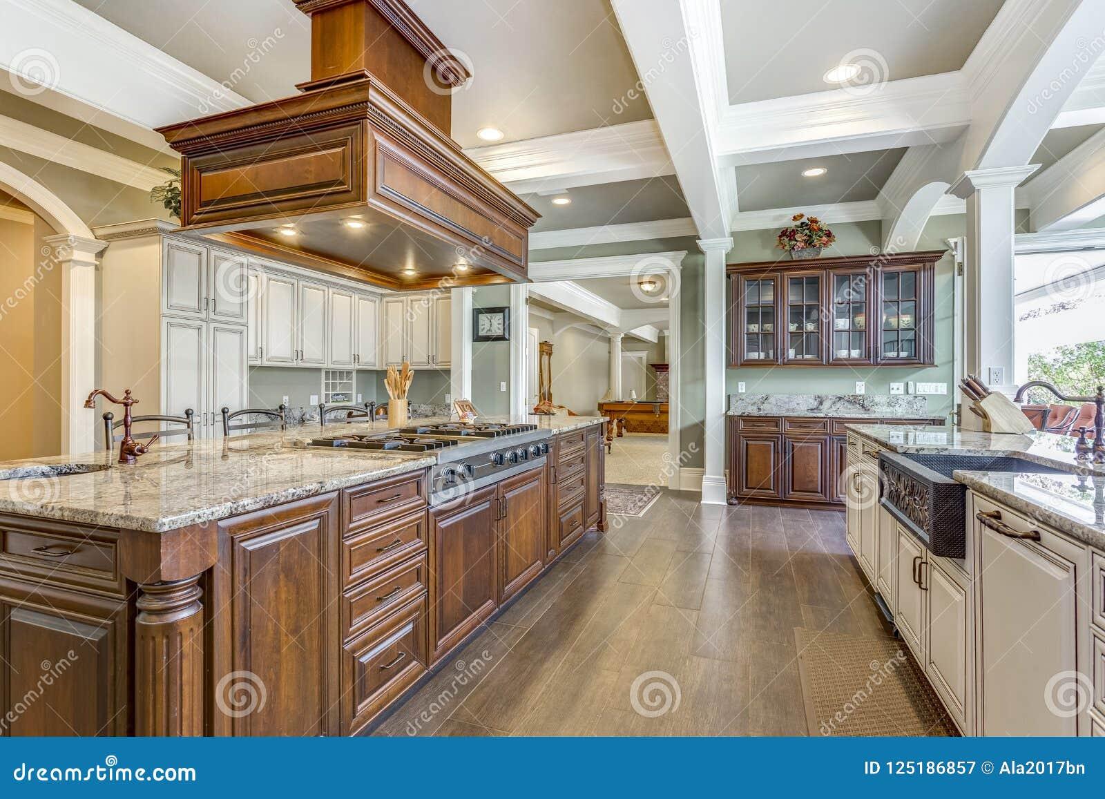 Conception renversante de pièce de cuisine avec la grande île de style de barre