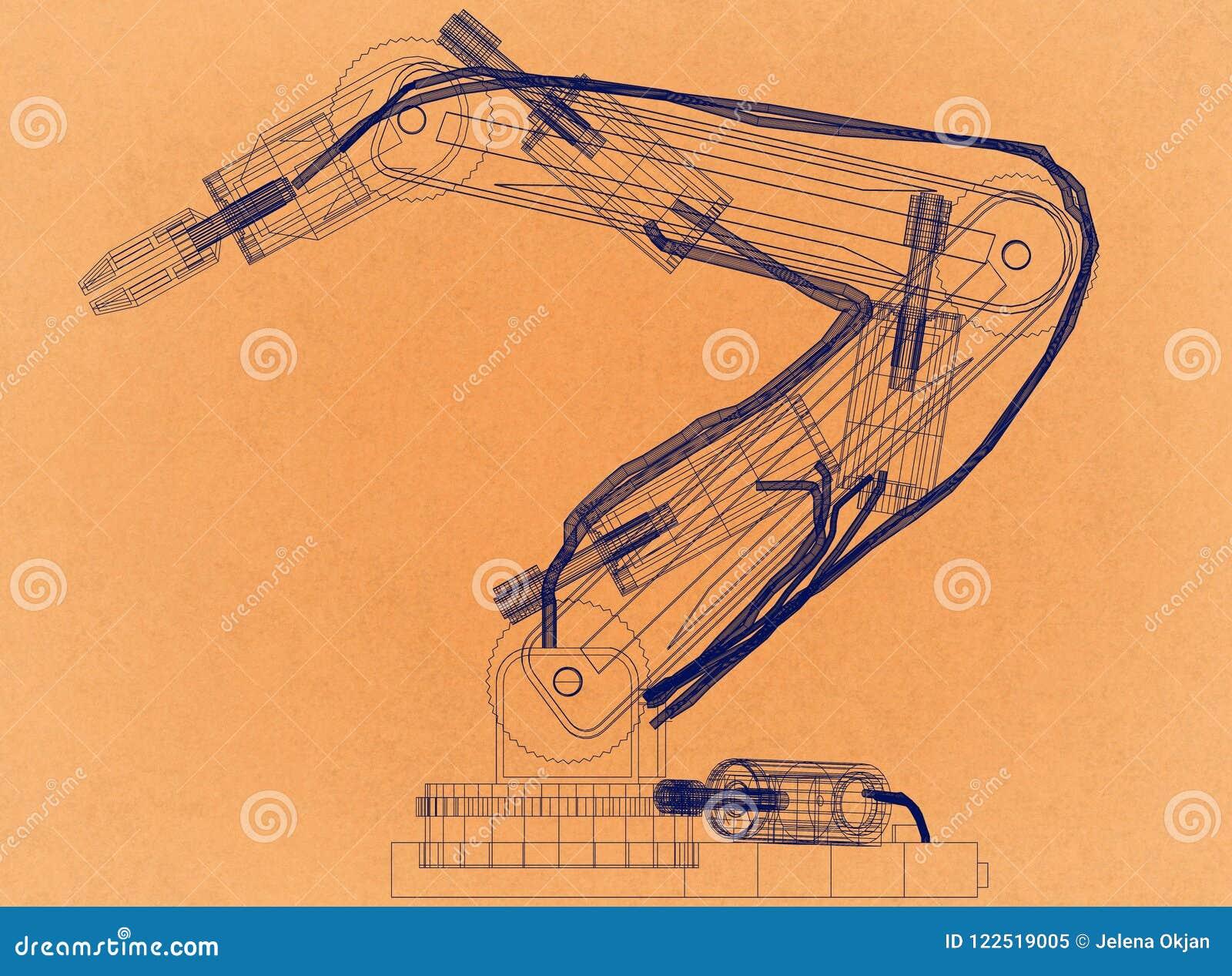 Conception robotique de bras - rétro architecte Blueprint