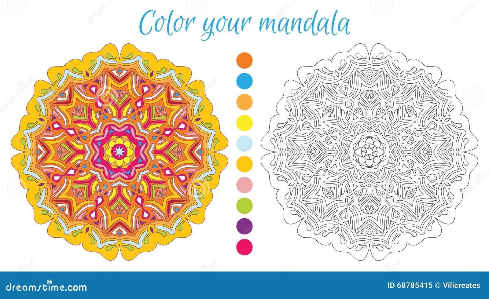 Conception Ronde De Mandala Pour Livre De Coloriage Adulte