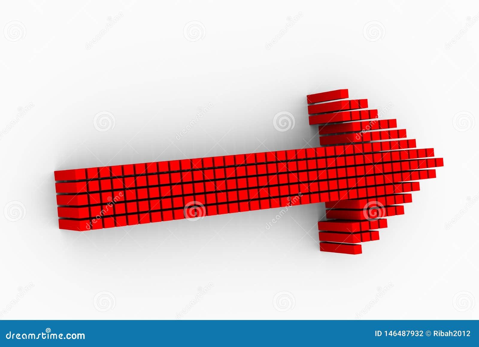 Conception rouge de flèche de matrice des cubes 3d