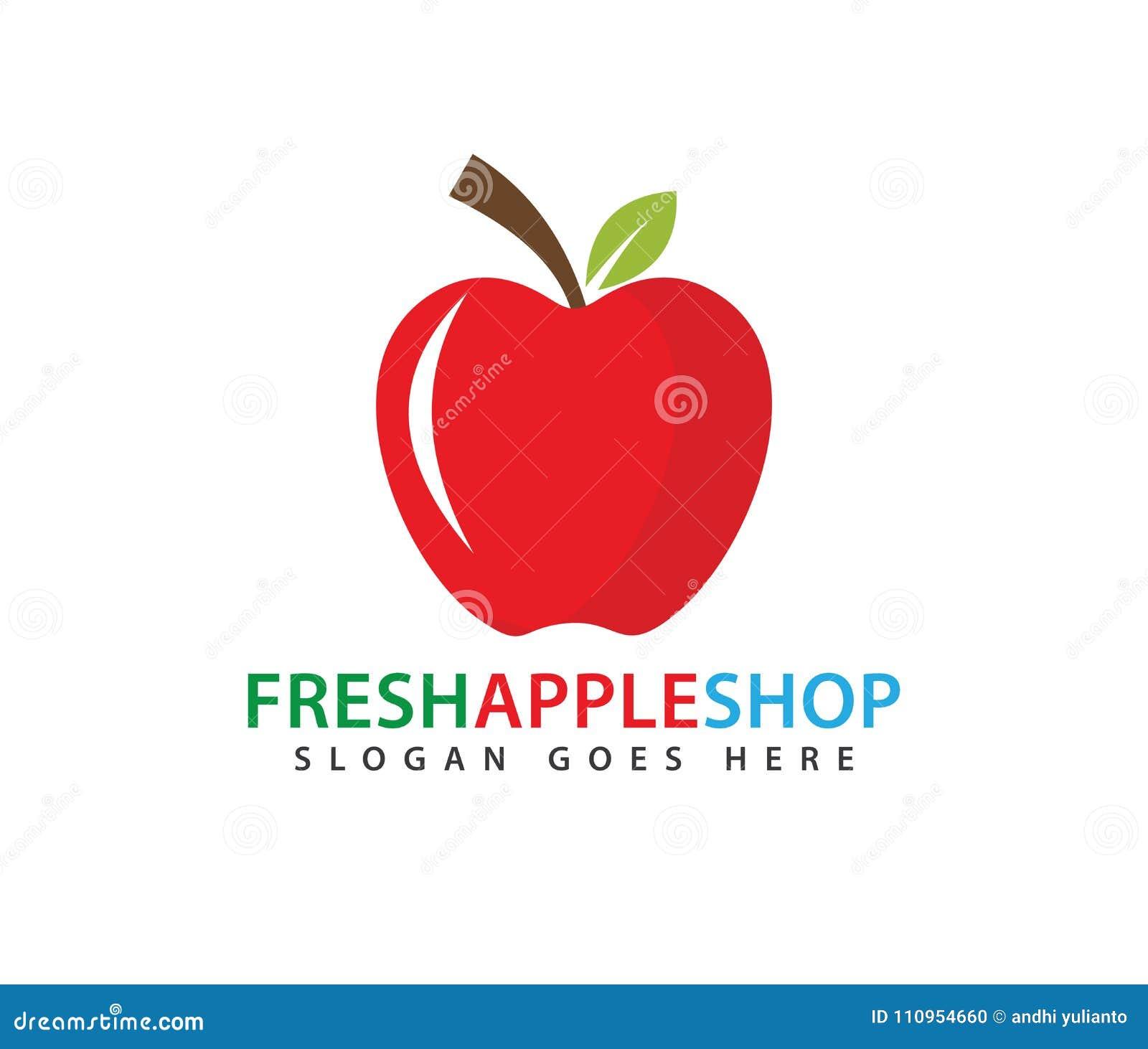 Conception rouge fraîche de logo de vecteur de fruit de pomme