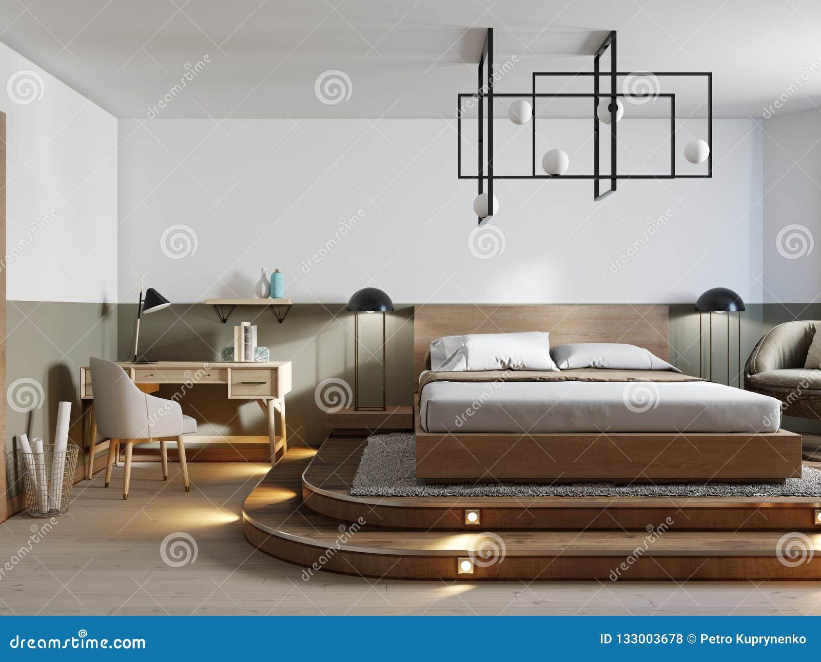 Conception Rustique Moderne De Chambre à Coucher Et Un Lit ...