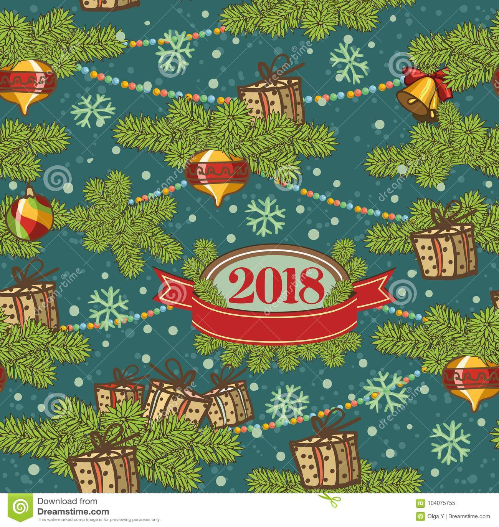 Conception sans couture de modèle Décoration de carte de Joyeux Noël Éléments de conception de bonne année Fond de vintage du feu
