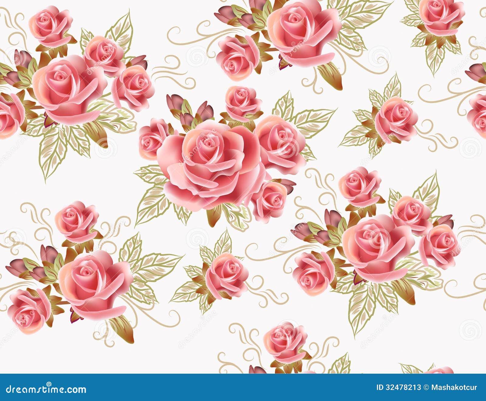 Conception Sans Couture Mignonne De Papier Peint Avec Les Fleurs