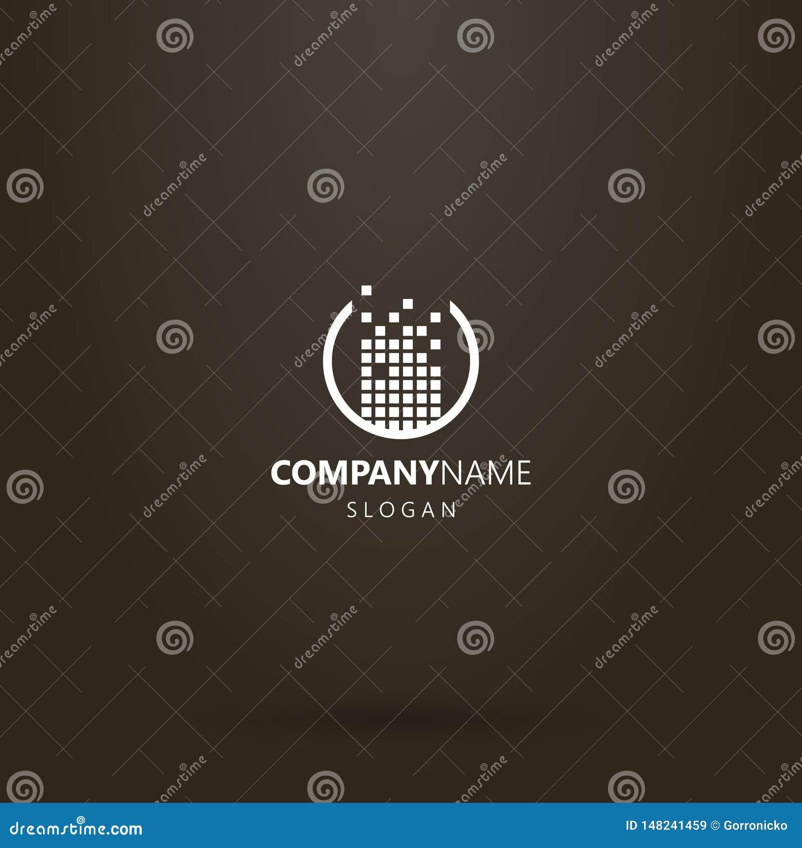Conception simple de logo de vecteur ?tablie d un ensemble de places dans un cadre rond