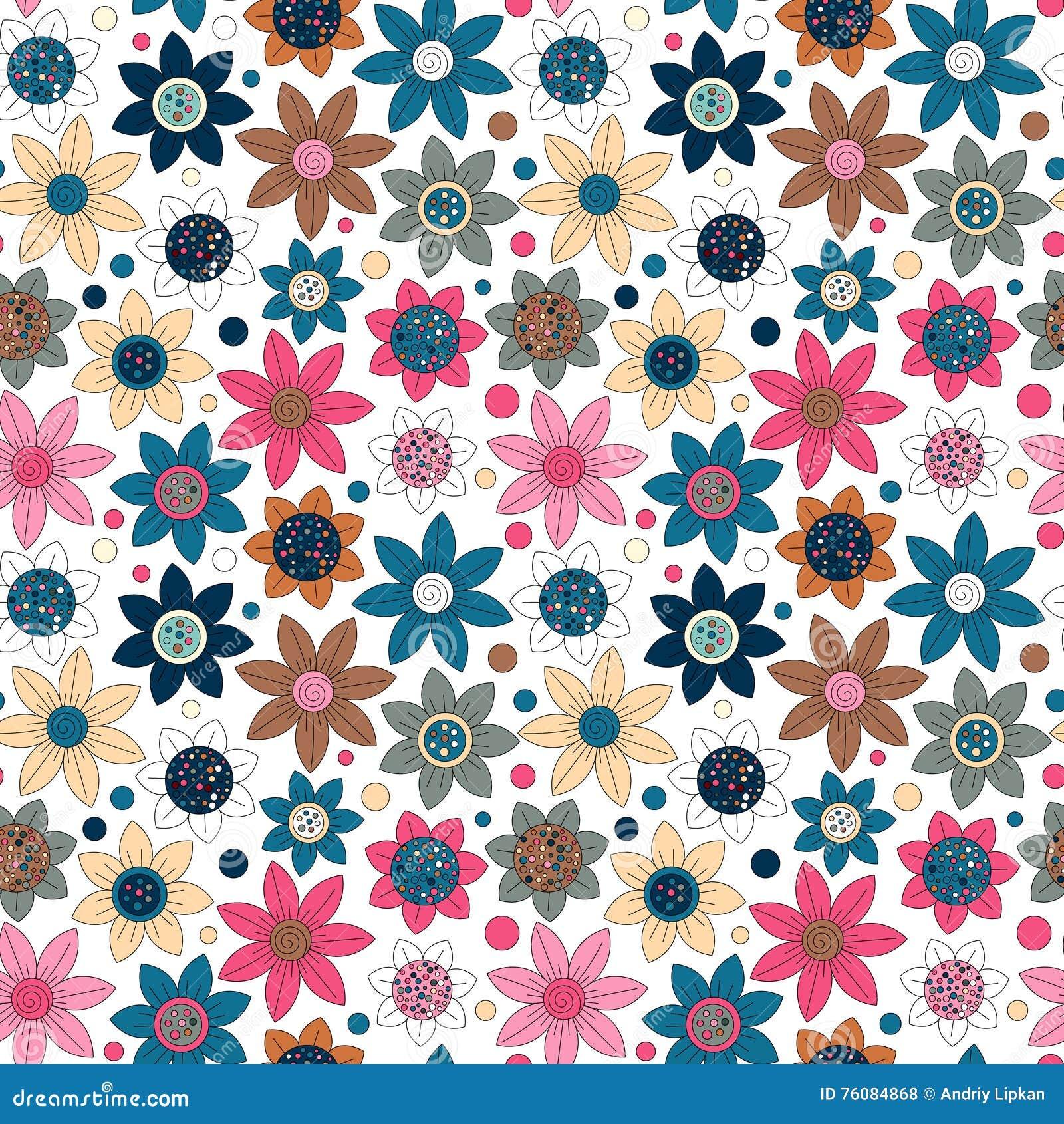 Conception simple de modèle mignon sans couture floral Le primitif fleurit l ornement sans couture Fond lumineux de beige de l OM