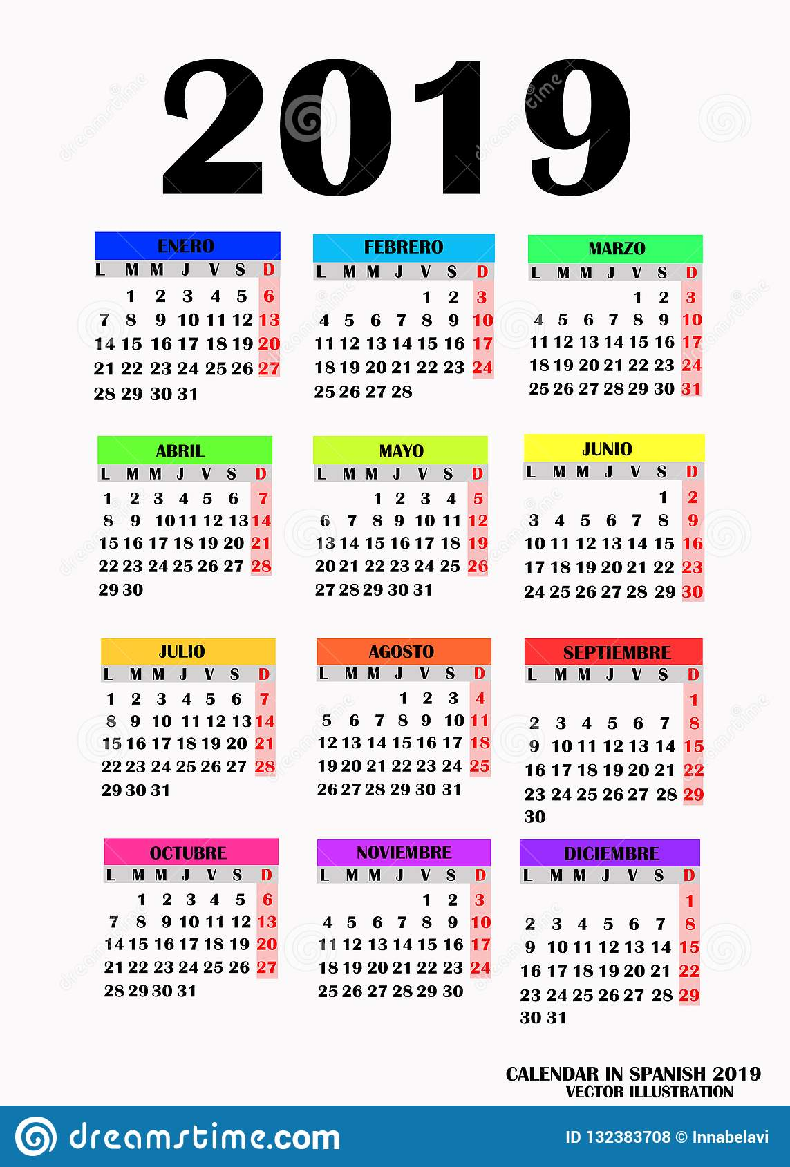 Calendrier 2019 Vectoriel.Conception Simple Pour Le Calendrier 2019 Vecteur