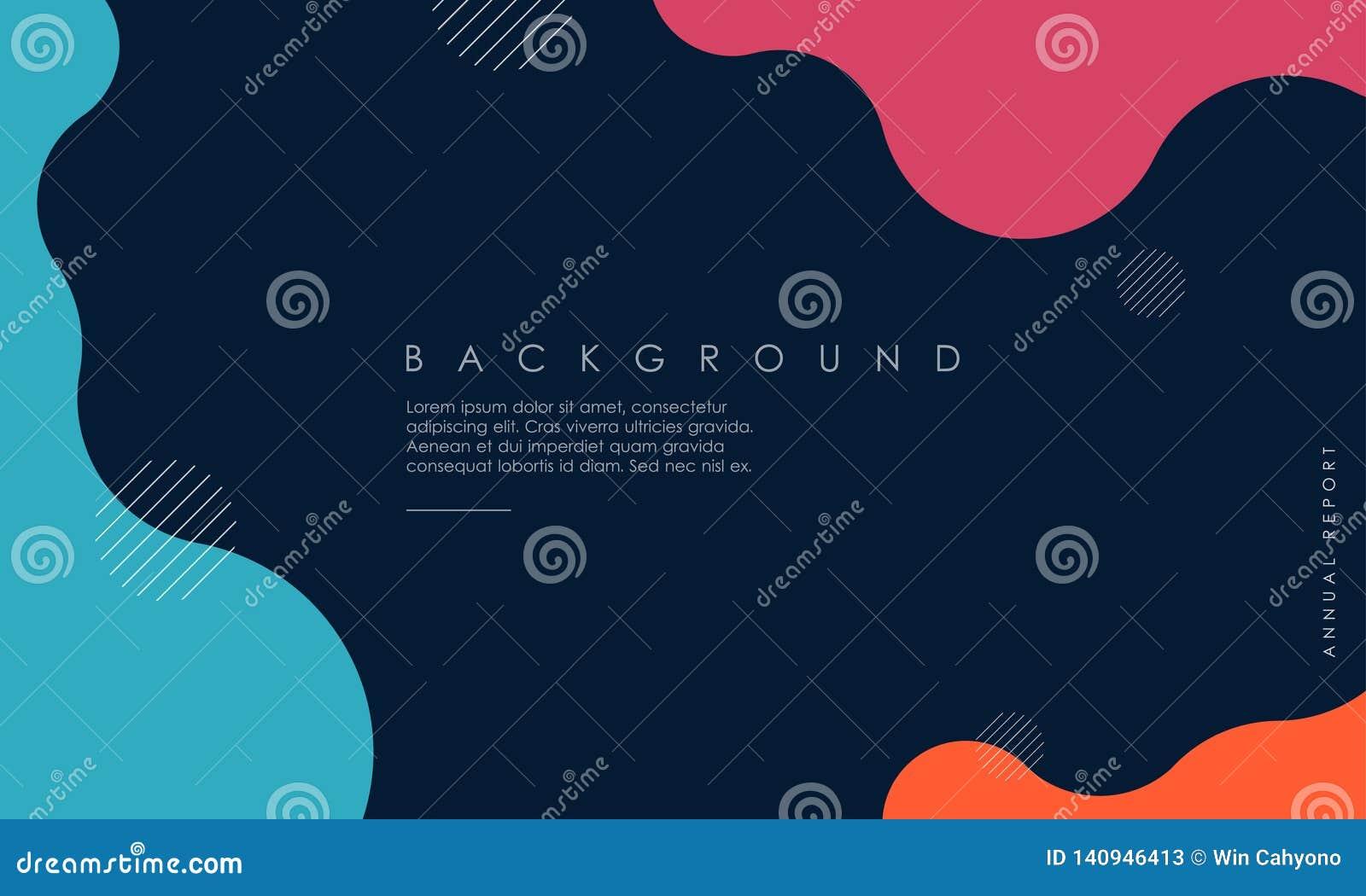 Conception texturisée dynamique de fond dans 3D le style avec bleu, rose, couleur orange
