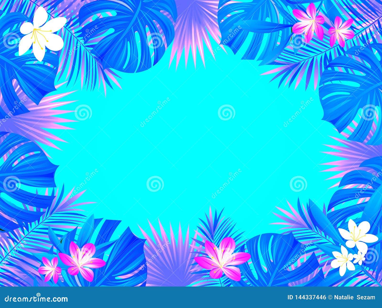 Conception tropicale de vecteur de cadre fond avec les feuilles exotiques de paumes de jungle, monstera, fleurs Frontière horizon