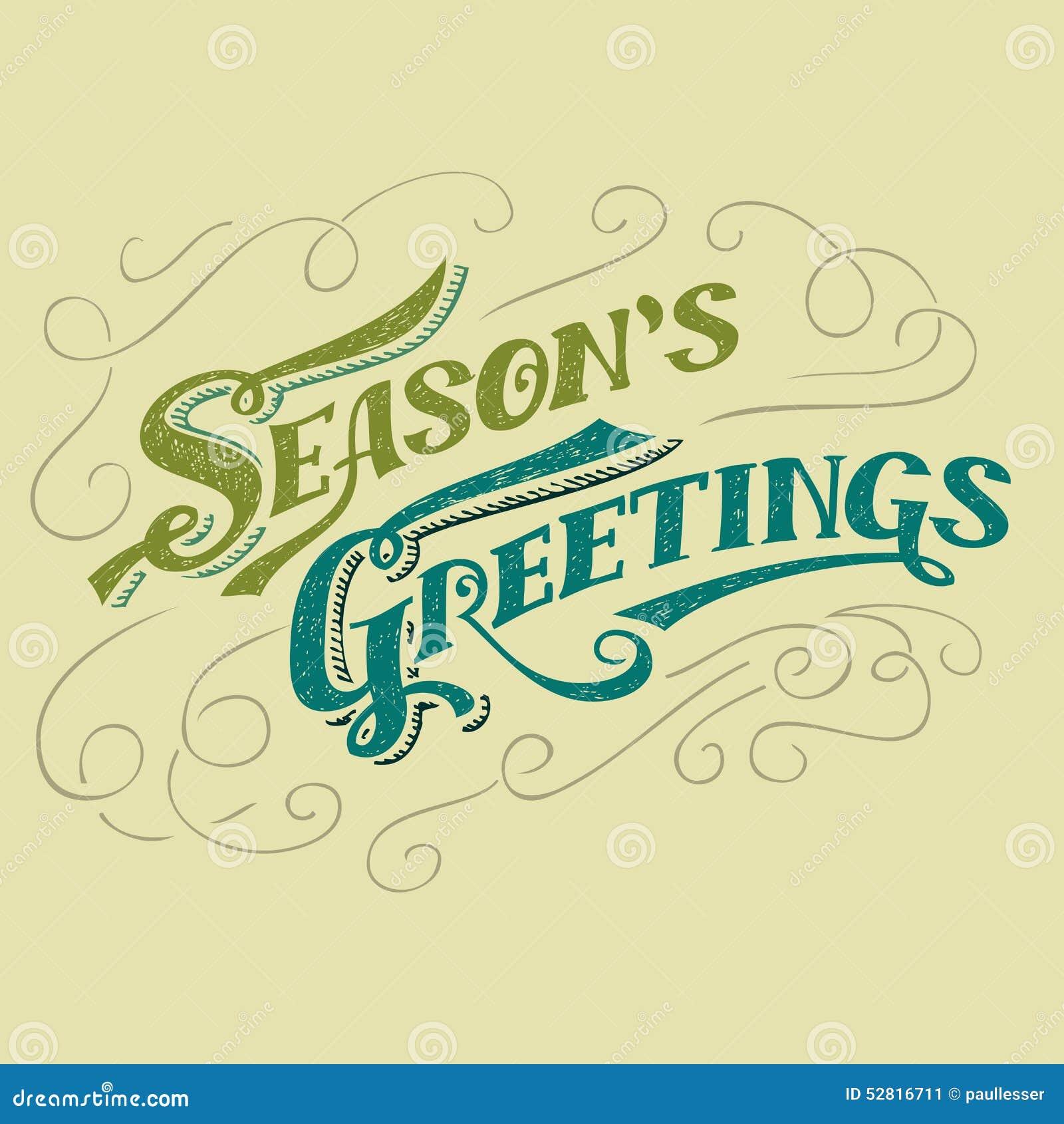 Conception typographique des salutations de la saison