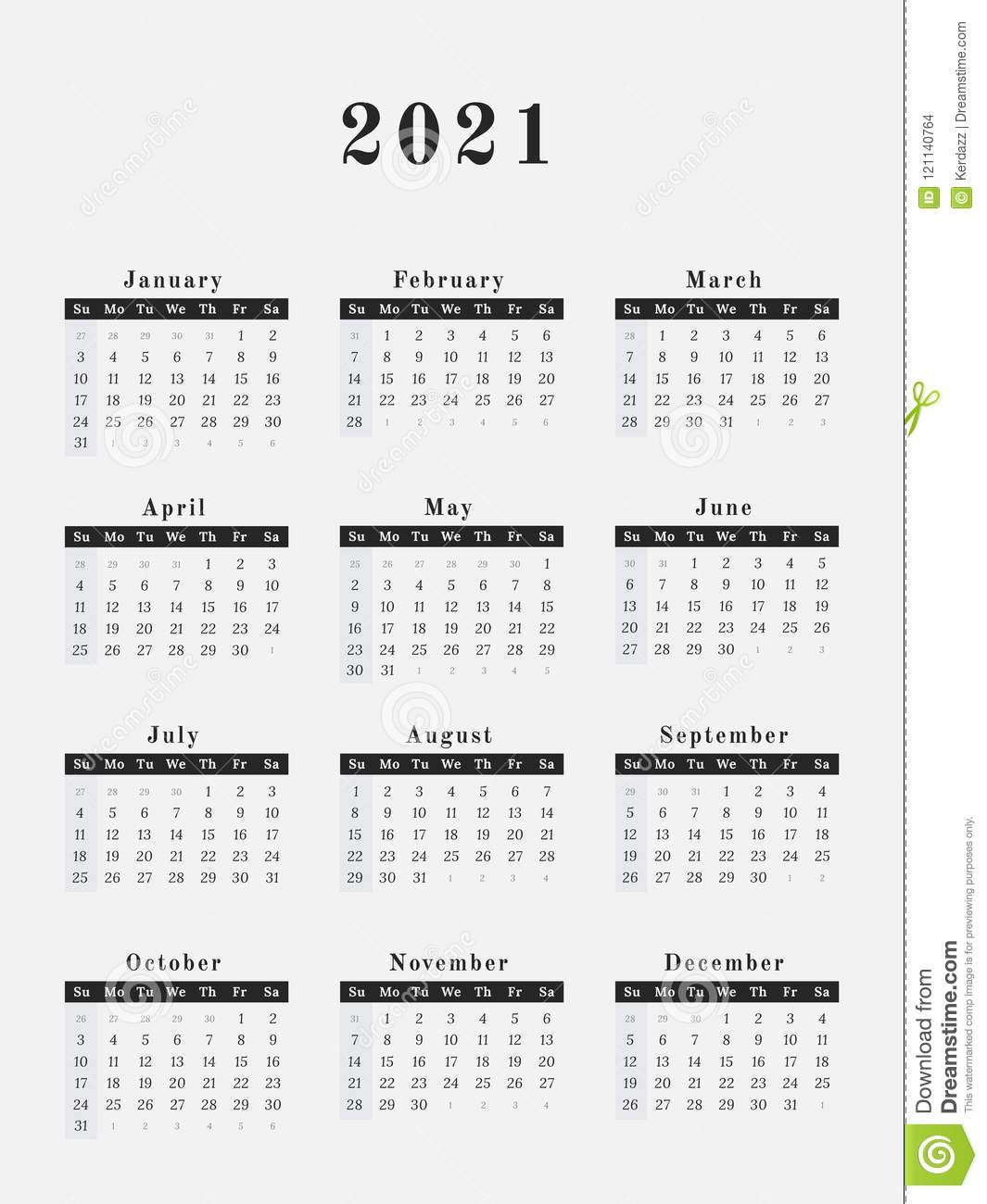 Conception Verticale De Calendrier De 2021 Ans Illustration de
