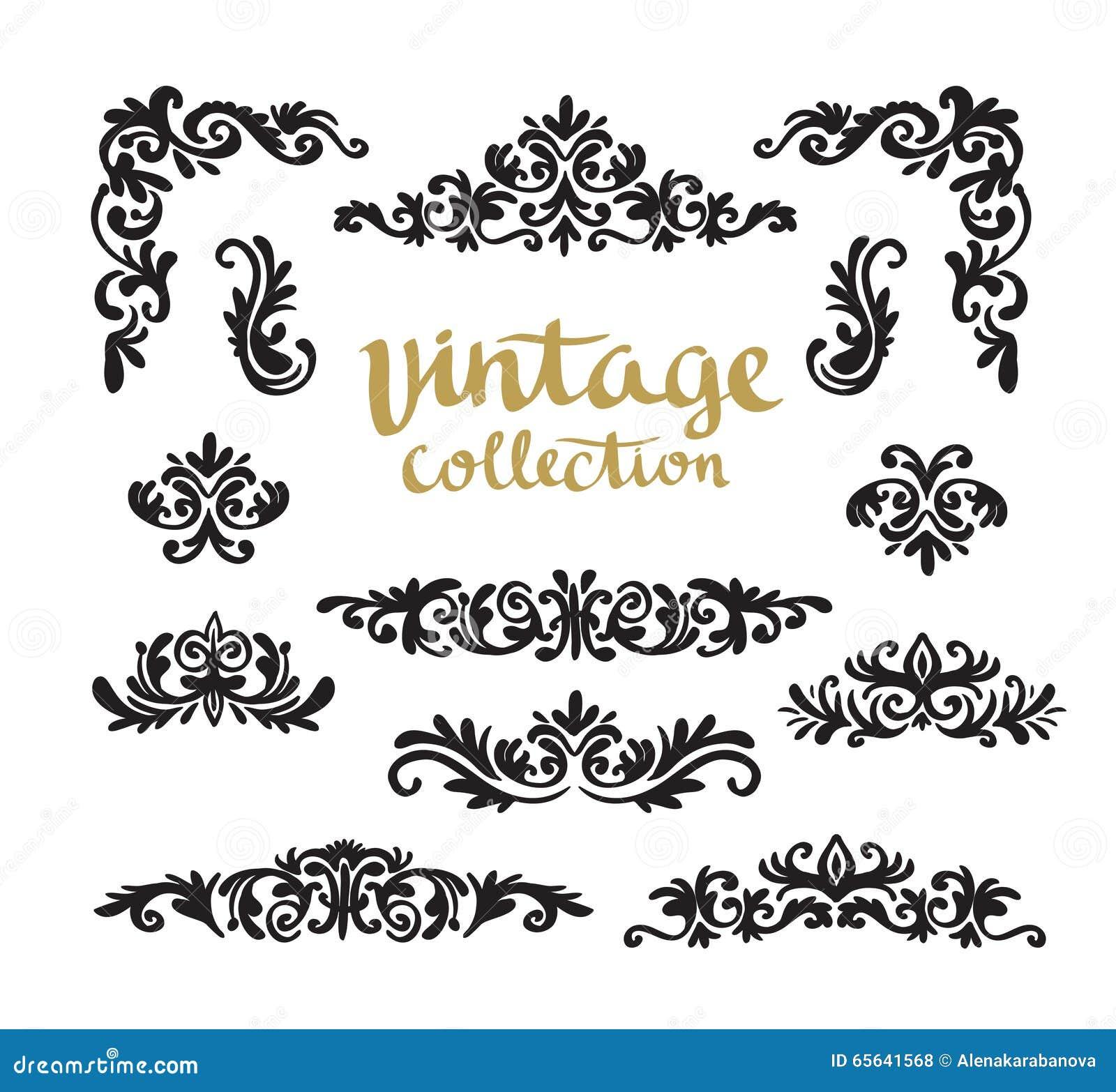 Conceptions calligraphiques ornementales de vintage réglées