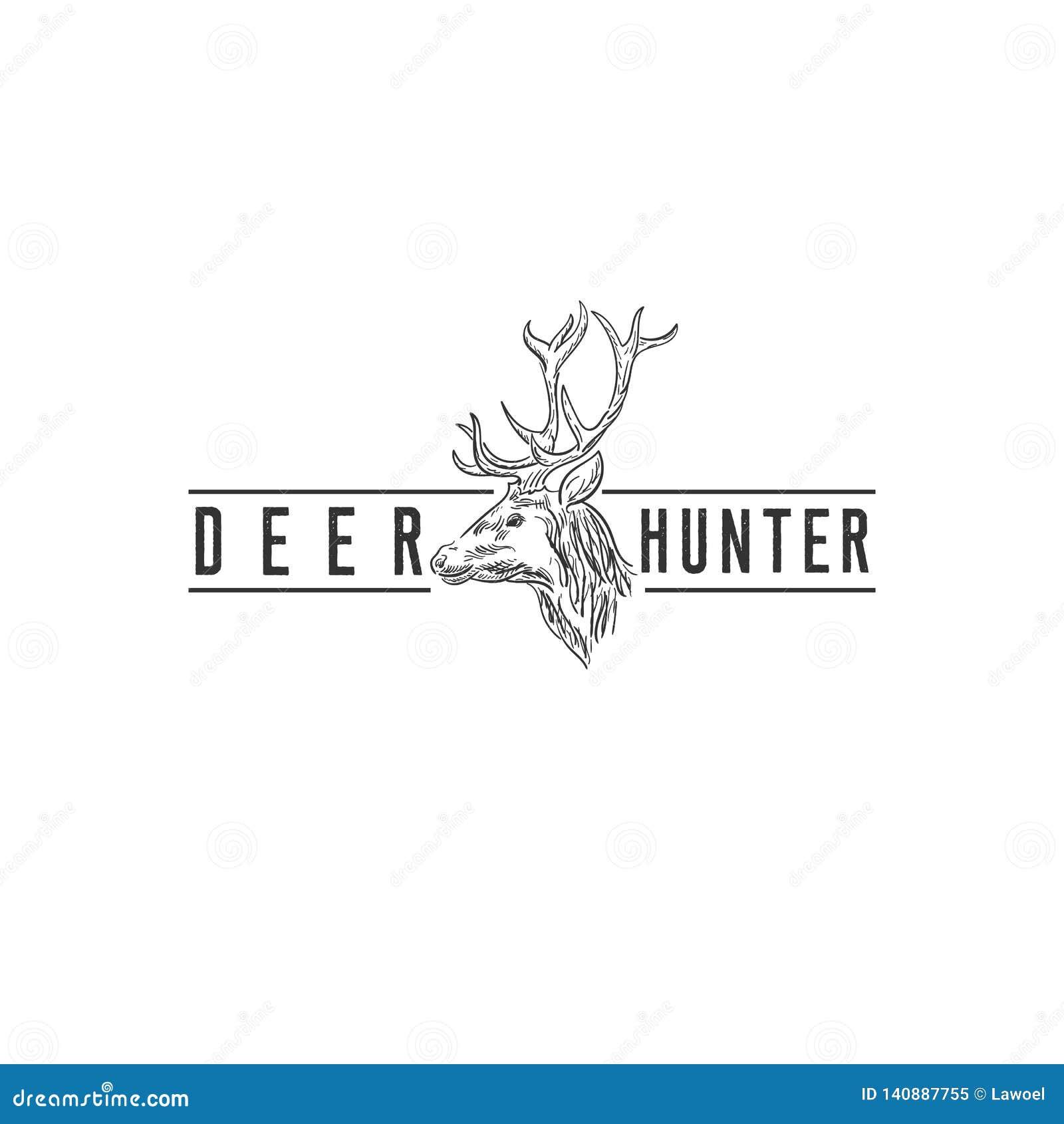 Conceptions de logo de cerfs communs de faune, logo de club de chasse
