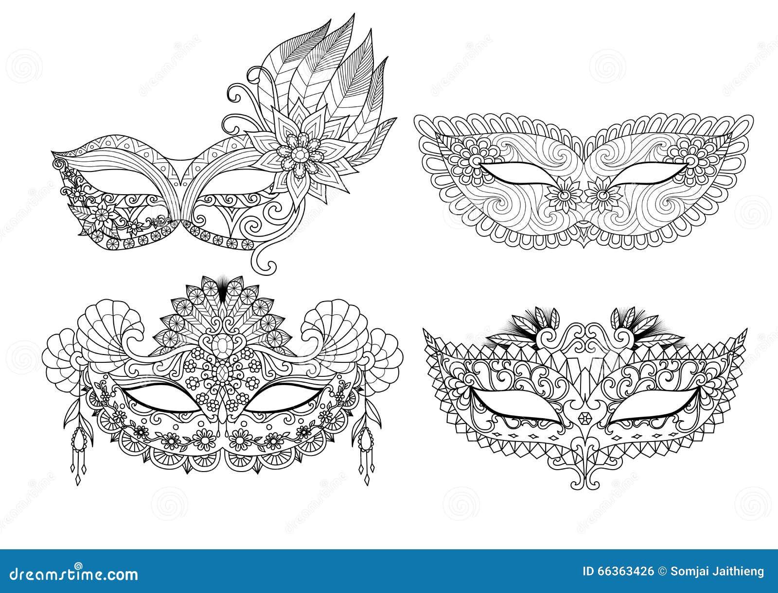 conceptions de masque de carnaval pour livre de coloriage pour l 39 adulte illustration de vecteur. Black Bedroom Furniture Sets. Home Design Ideas