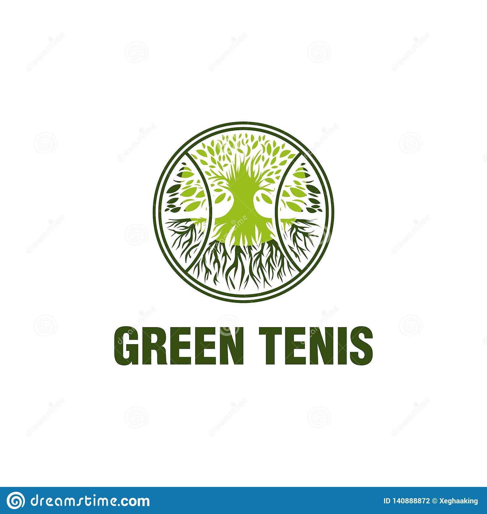 Conceptions vertes de logo de tennis, concept mûr de logo