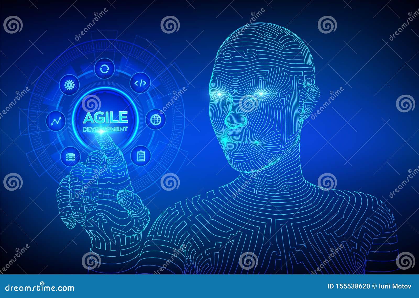 Concepto ágil de la metodología de desarrollo de programas en la pantalla virtual Tecnología de Digitaces, concepto grande de los