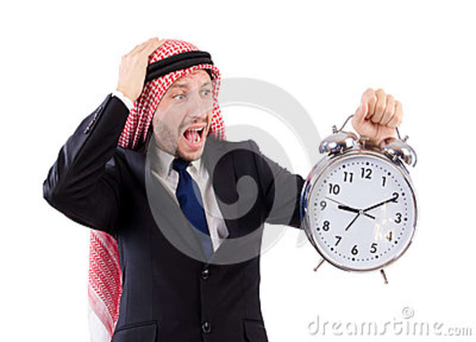 Concepto árabe del hombre a tiempo