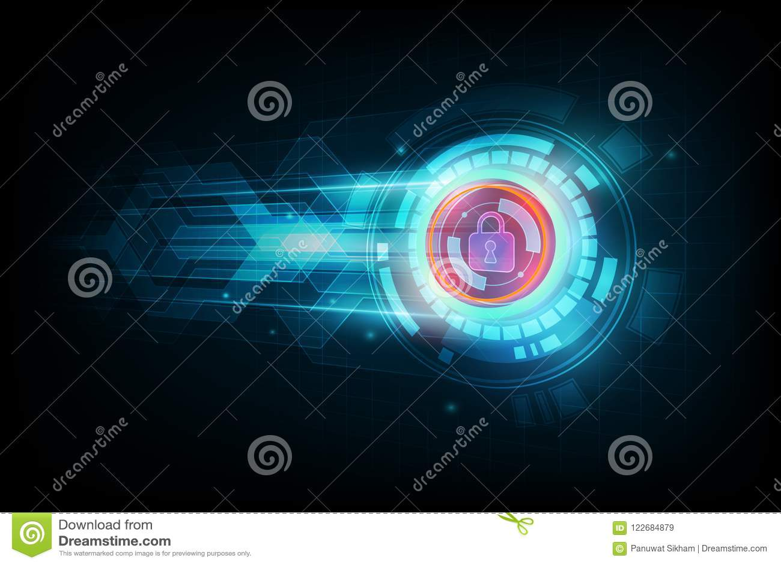 Concepto abstracto de la seguridad de datos y techno electrónico futurista