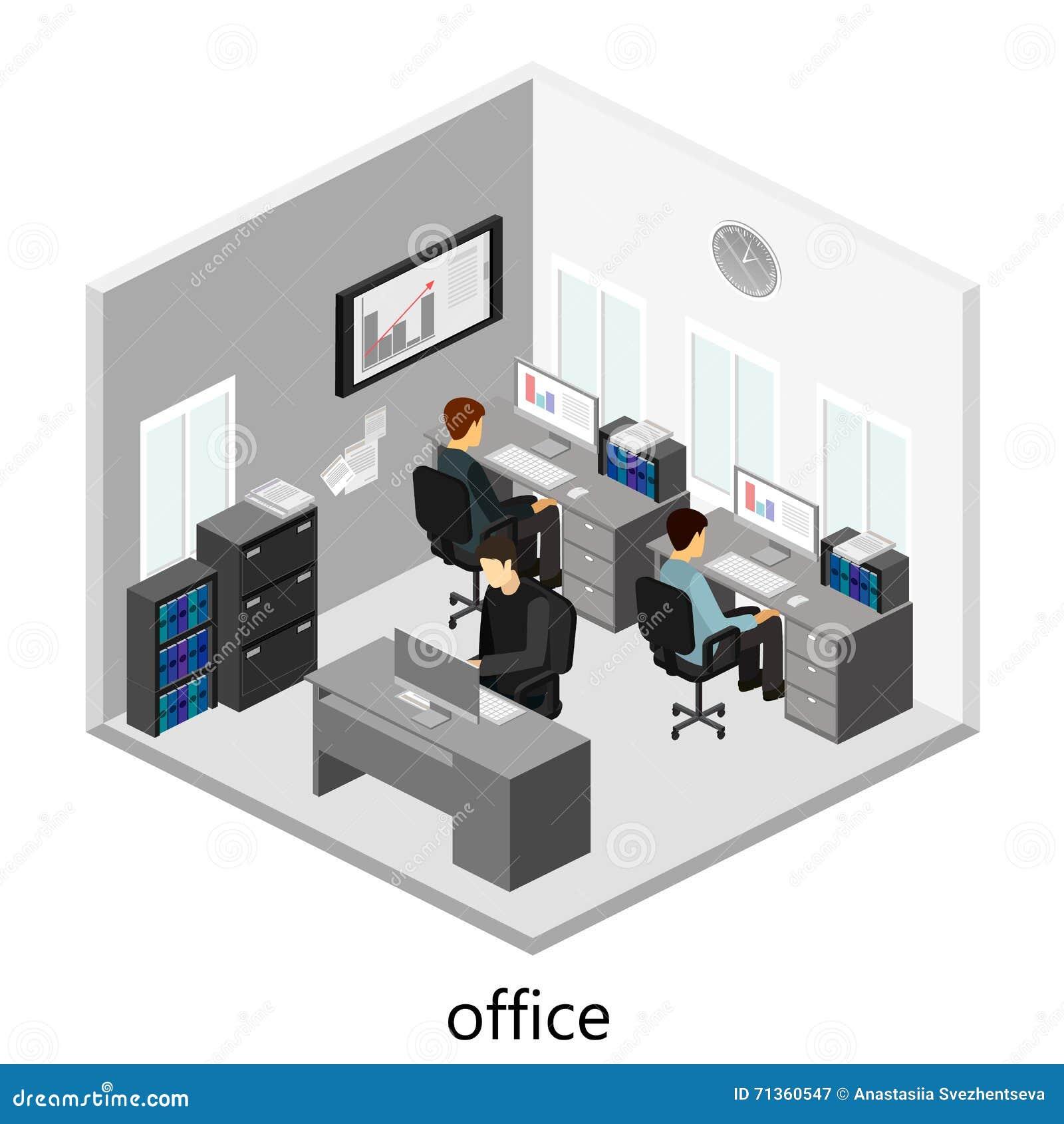 Concepto abstracto isom trico plano de los departamentos for Planos de oficinas pequenas