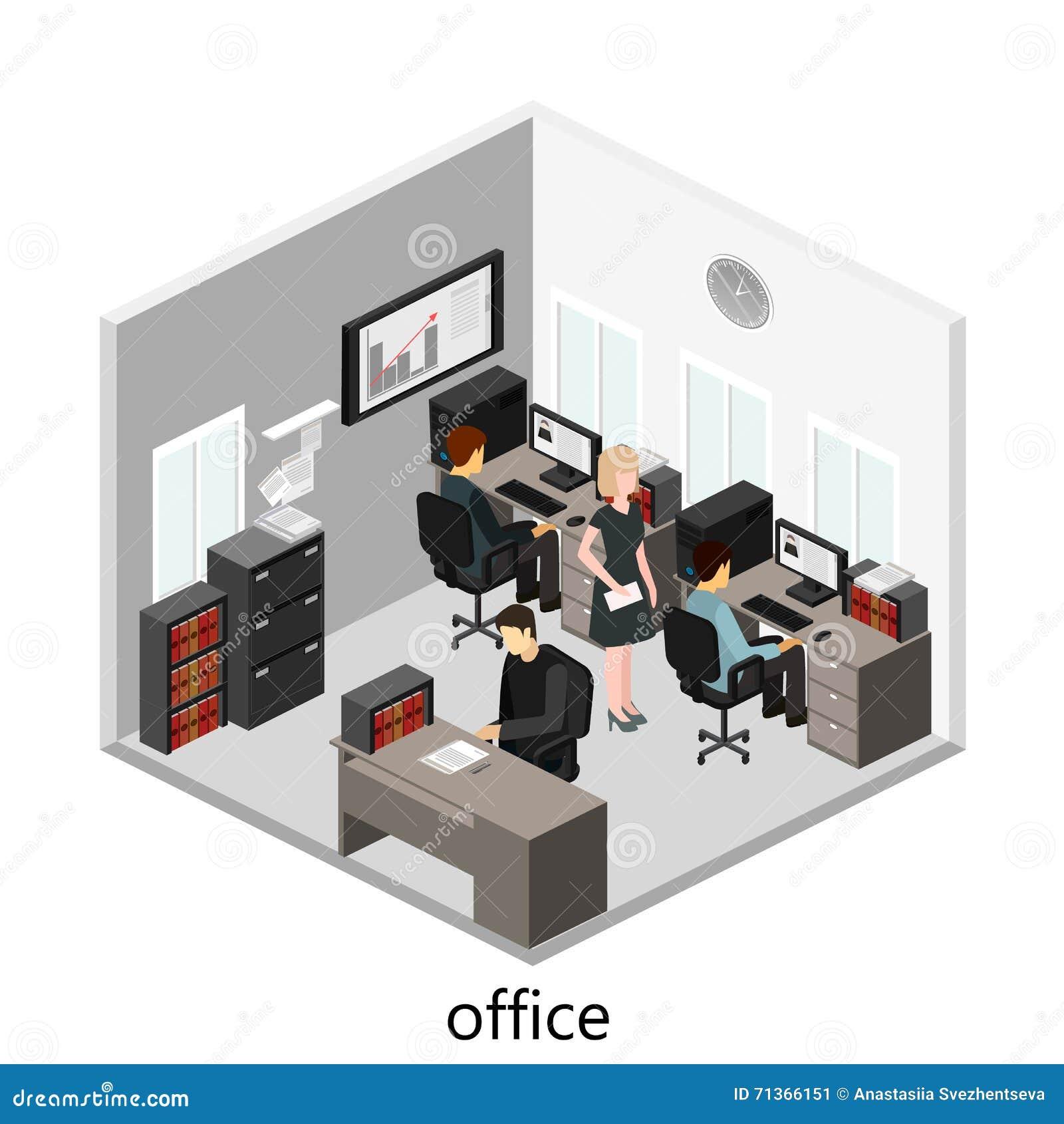 Concepto abstracto isom trico plano de los departamentos for Concepto de oficina