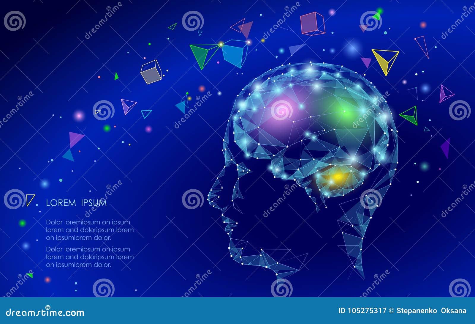 Concepto abstracto polivinílico bajo de la realidad virtual del cerebro Sueño linear de la imaginación de la mente del triángulo
