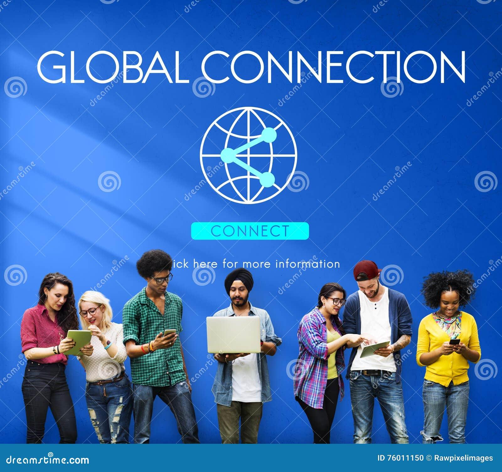 Concepto accesible de la tecnología de Internet de la conexión global