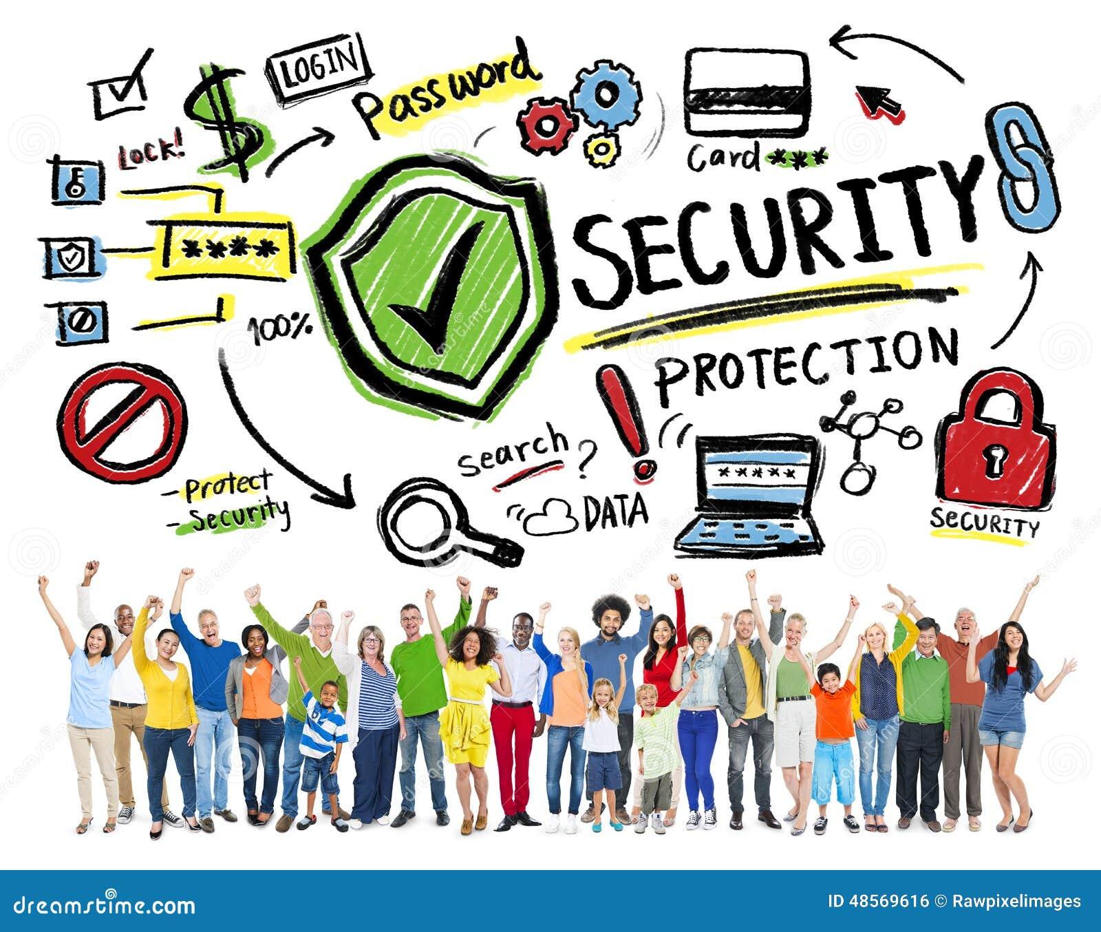 96234969 Concepto alegre de la protección de seguridad de la gente de la pertenencia  étnica que gana