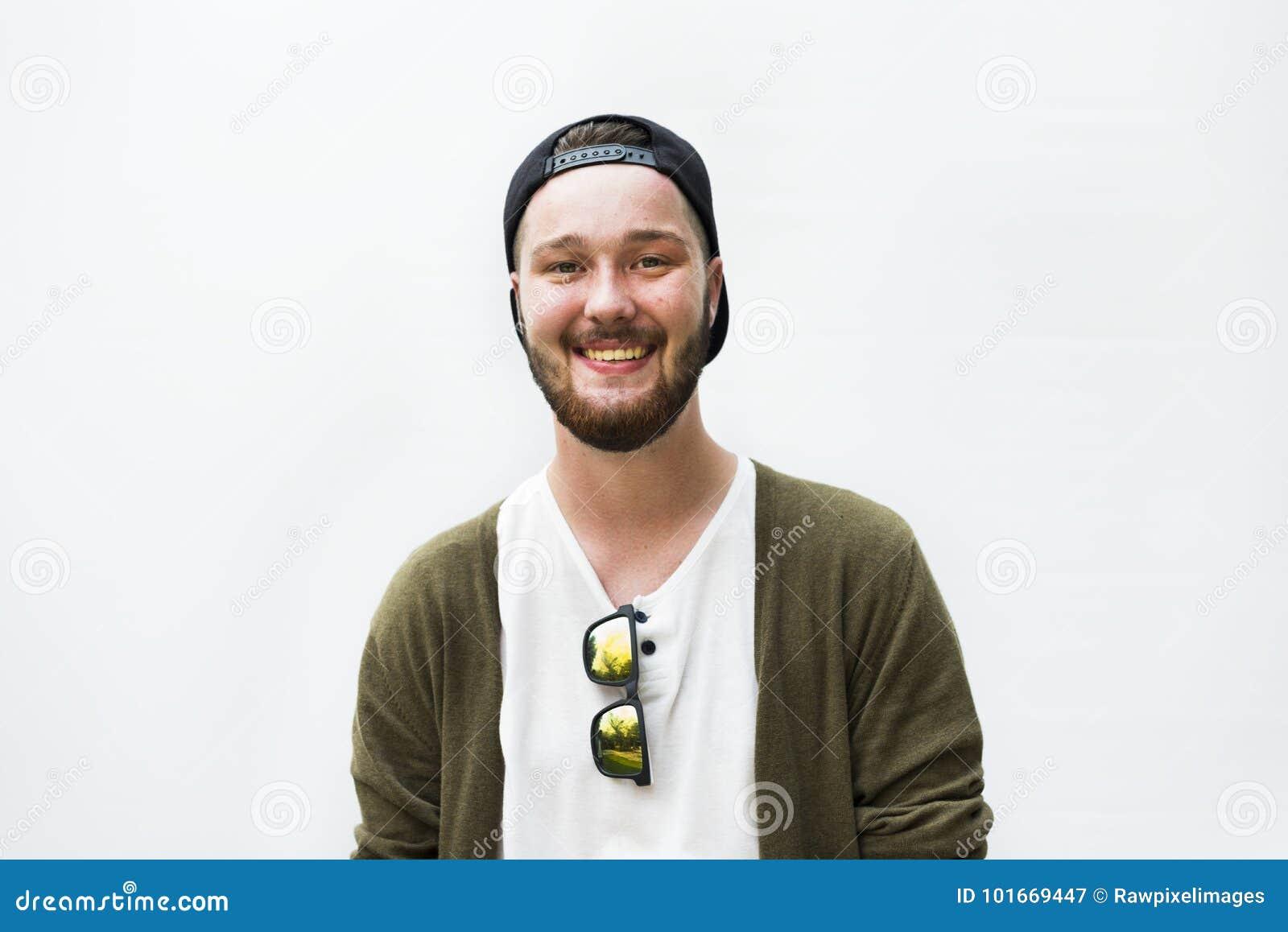 Concepto alegre del hombre hermoso caucásico de la pertenencia étnica