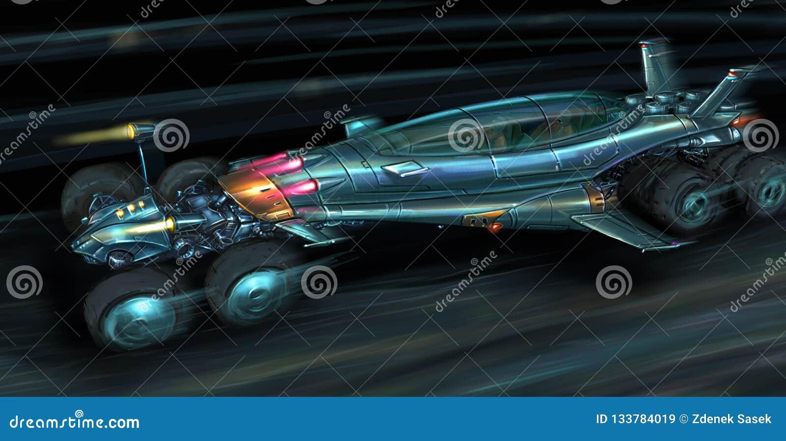 Concepto Art Painting de Jet Propelled Car futurista rápida