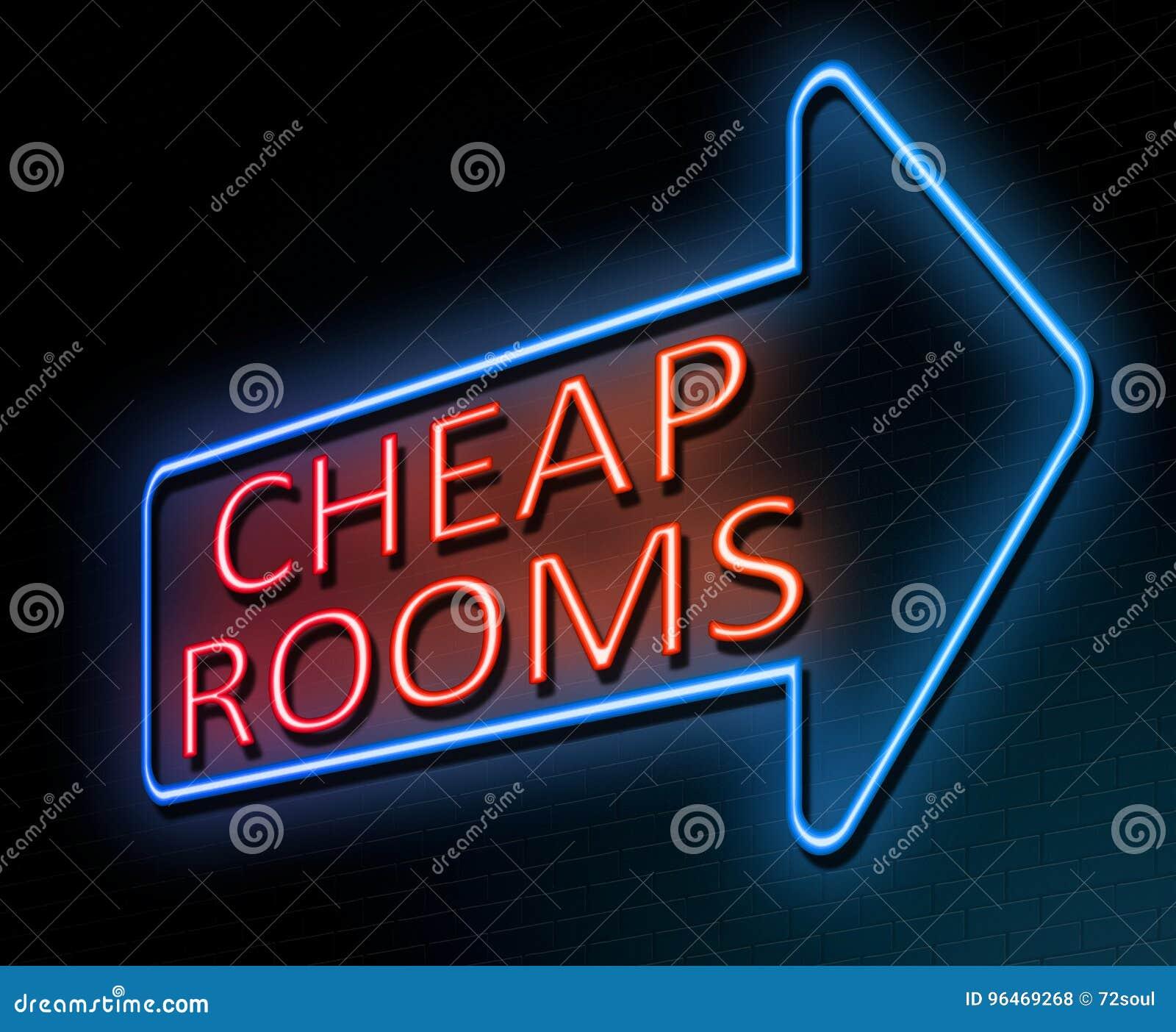 Concepto barato de los cuartos