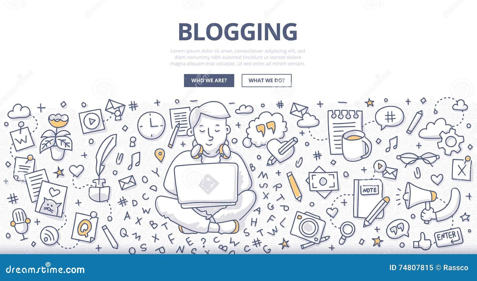 Concepto Blogging del garabato