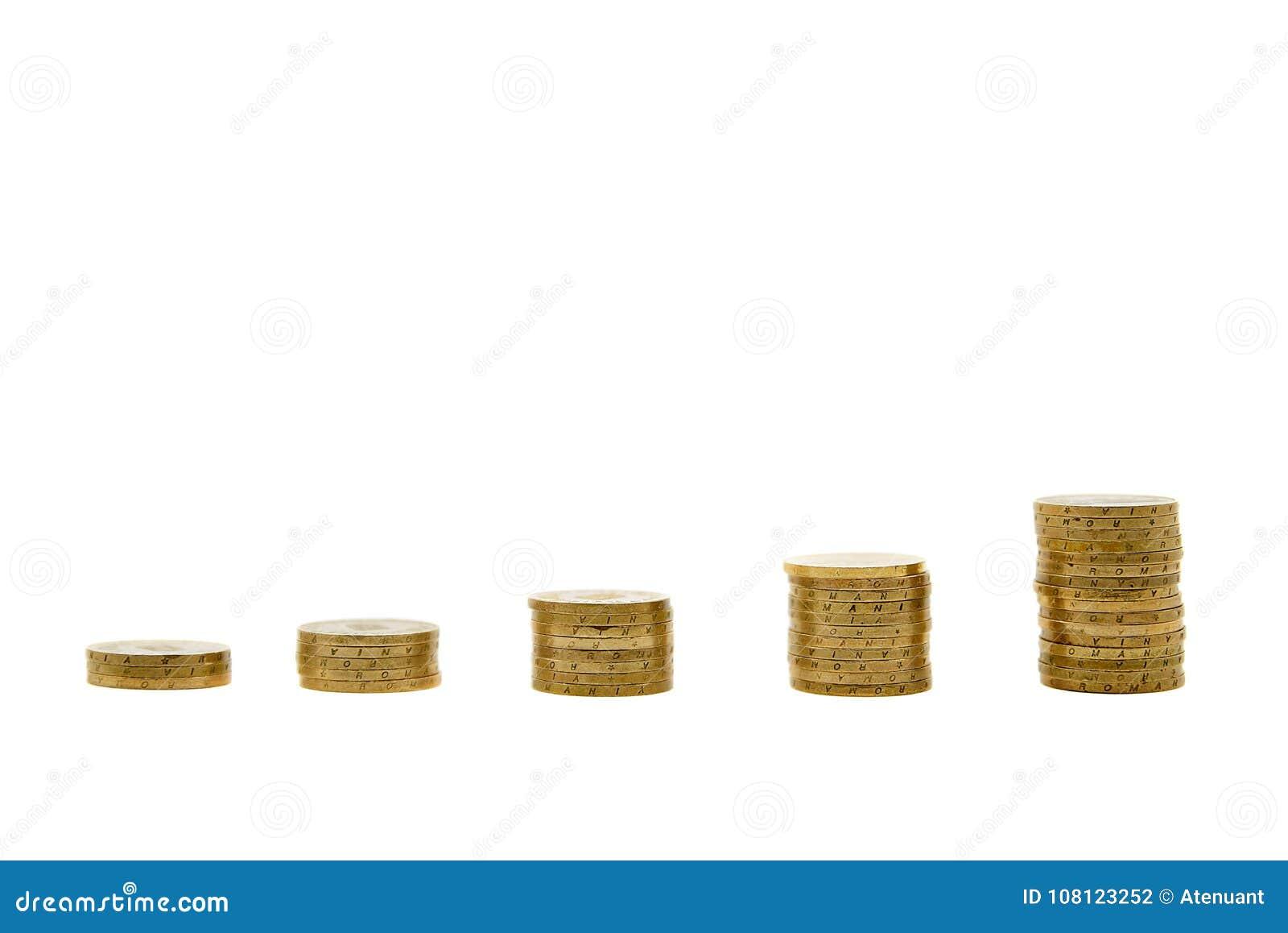 Concepto cada vez mayor de la economía con las monedas