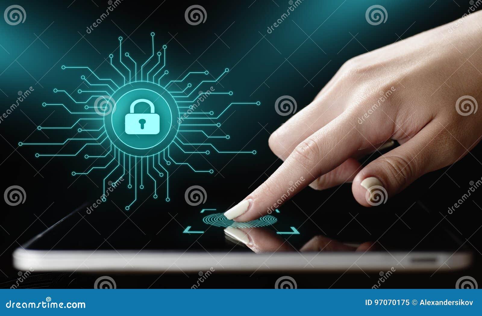 Concepto cibernético de la tecnología de Internet del negocio de la privacidad de la seguridad de la protección de datos