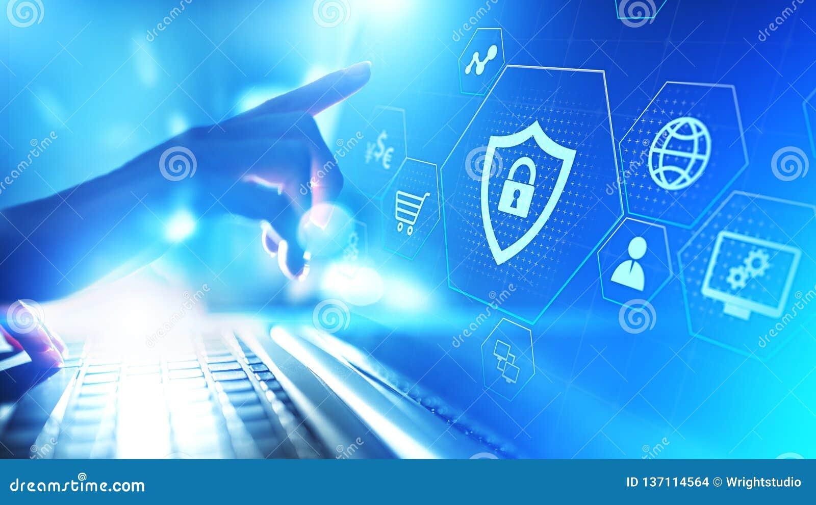 Concepto cibernético de la tecnología de Internet de la aislamiento de Internet de la seguridad de datos de la protección en la p