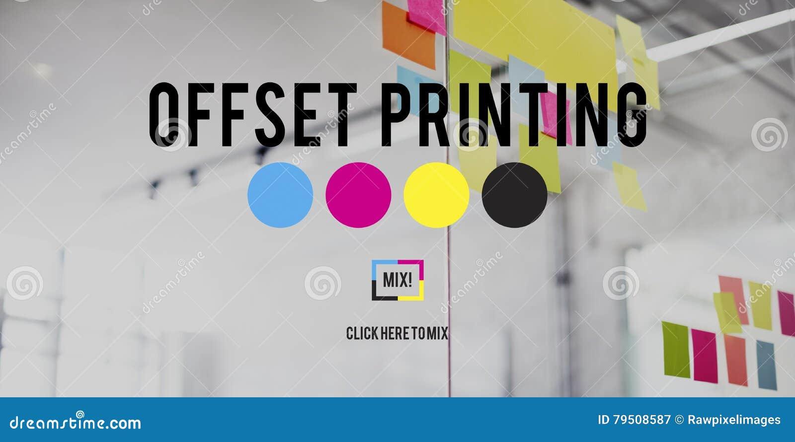 Concepto clave amarillo magenta ciánico en offset del proceso CMYK de la impresión