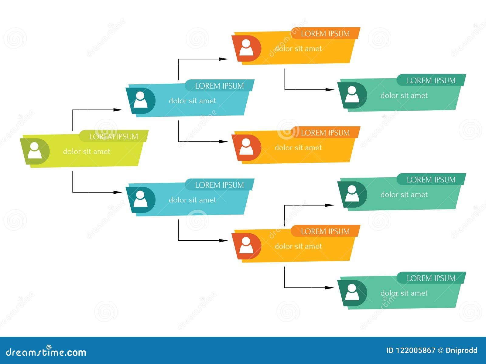 Concepto colorido de la estructura del negocio, carta de organización corporativa